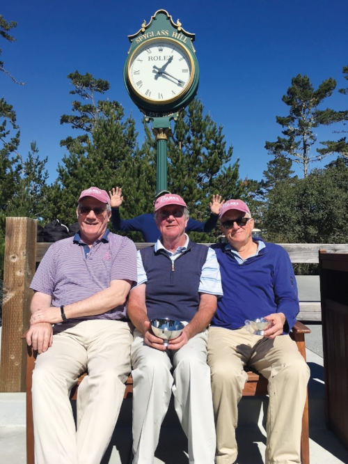 Complete with SPS Sparks regalia, Form of 1970 glimmer twins Steve Crandall (l.) and Steve Moorhead (r.), celebrated their 66th birthdays at Pebble Beach with Chris Blair '71 (c.).