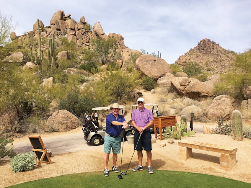 Formmates Chris Denison (l.) and Fred Stillman  discussing their Form of 1971 50th Reunion gift at a winter retreat in Arizona.