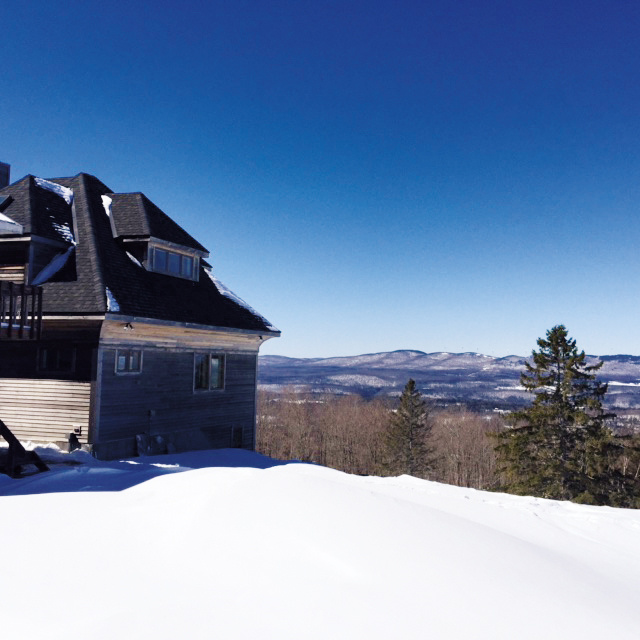 The view from the Vermont home of Jeremy Wintersteen '73, where a recent snowmobile purchase has made grocery transportation a less harrowing endeavor.