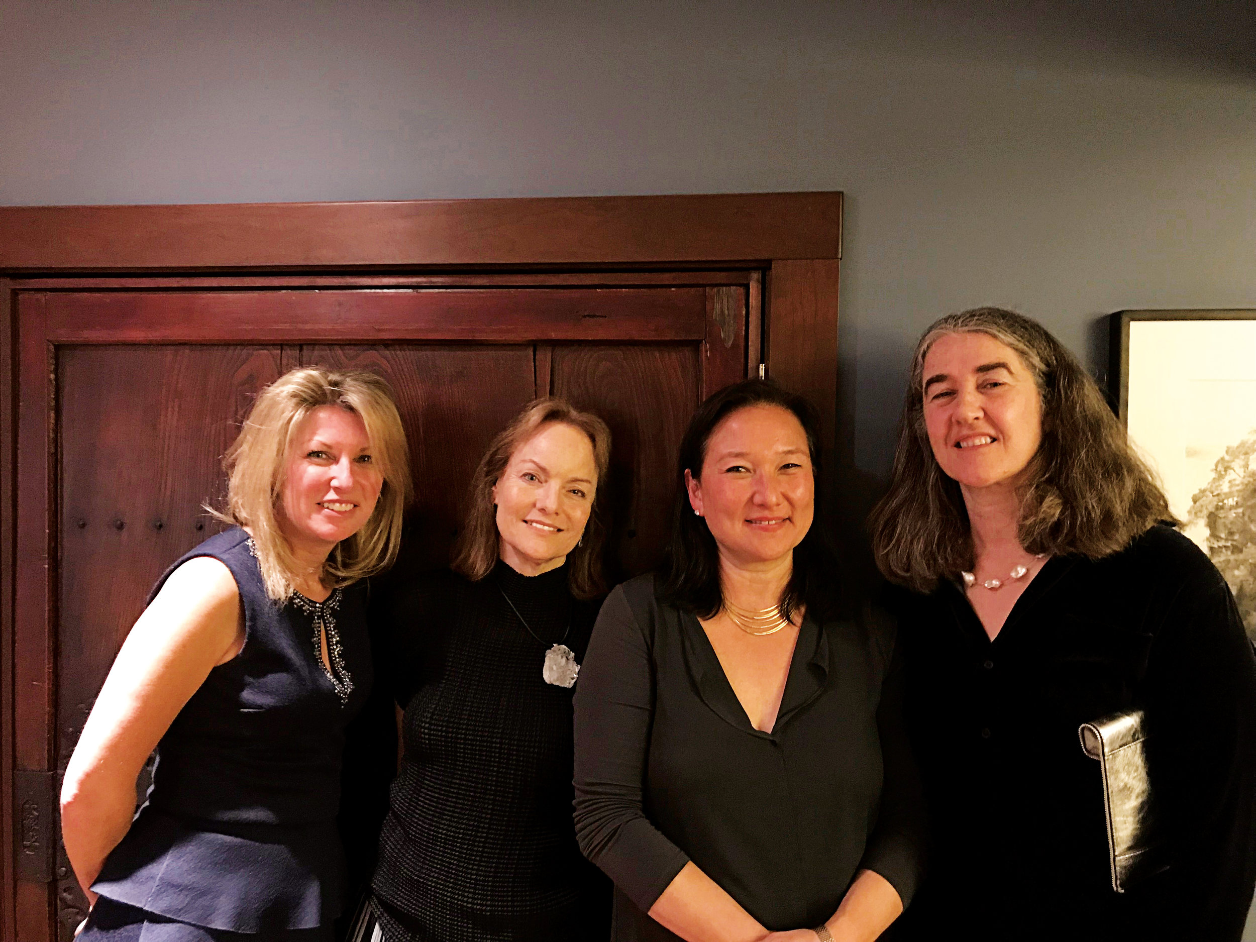 Alison Zetterquist '76 gets by with a little help from her friends during her milestone birthday celebration. (L. to r.) Claire Callewaert, Alison, Liz Robbins '79, and Anne Benning '79.