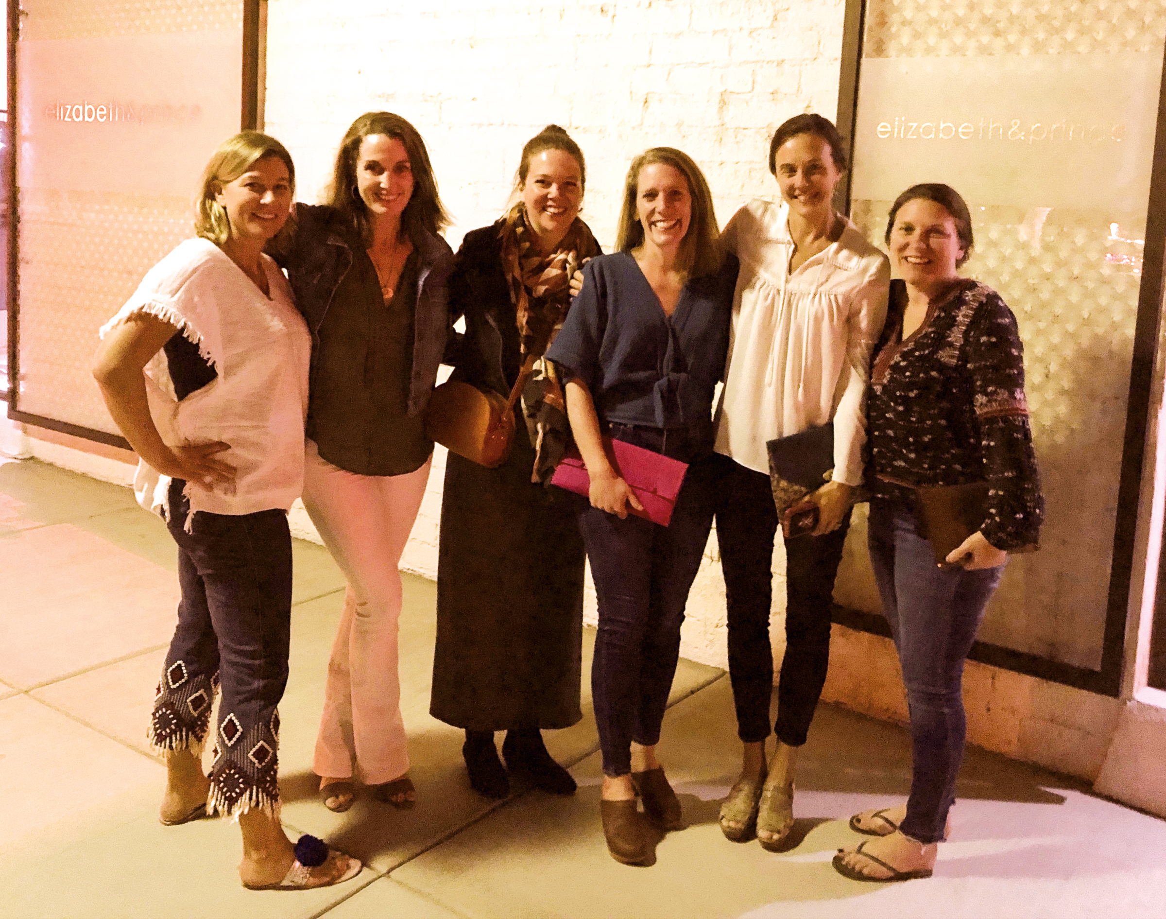 (L. to r.) Formmates Alyson (Grant) Jones '95, Courtney (Coles) Evans, Roberta (Bruce)  Paul, Lisa (Funk) Day, Alessia Carega, and Morgan Stewart met up in Palm Springs, Calif., in February.