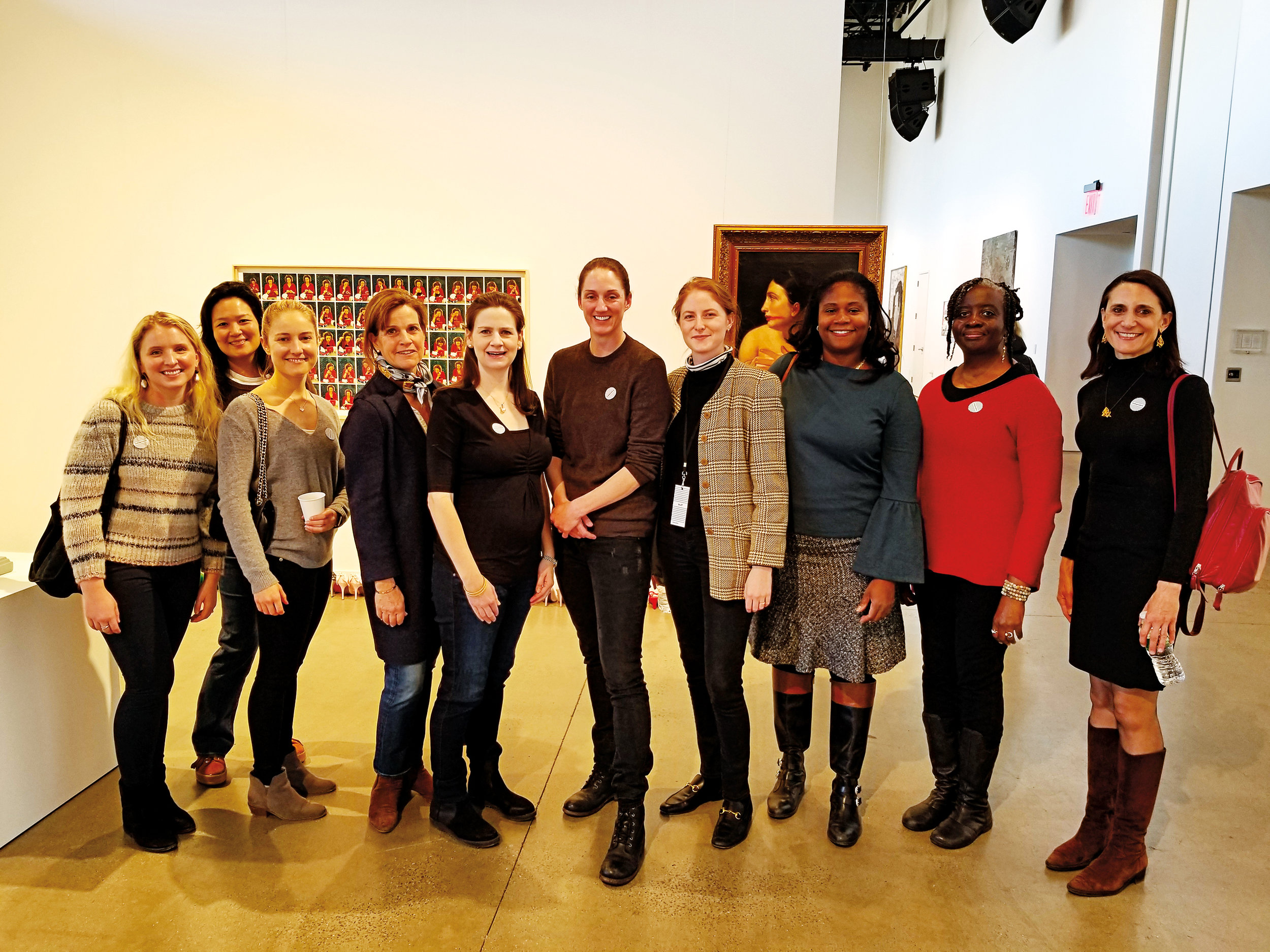 Alix Dana '07 hosted an SPS XIX Society event at a contemporary art fair in Tribeca. Paulies in attendance were (l. to r.) India Laughlin '07, Janice Lee '90, Kristen Kenney '07, Hilary Bedford Parkhurst '80, Lauren McKenna Surzyn '03, Tamsen Williams '91, Alix, Wendy Clarke Wilcox P'17, P'19, Stacy China '89, and Alison Horne-Rona '82.