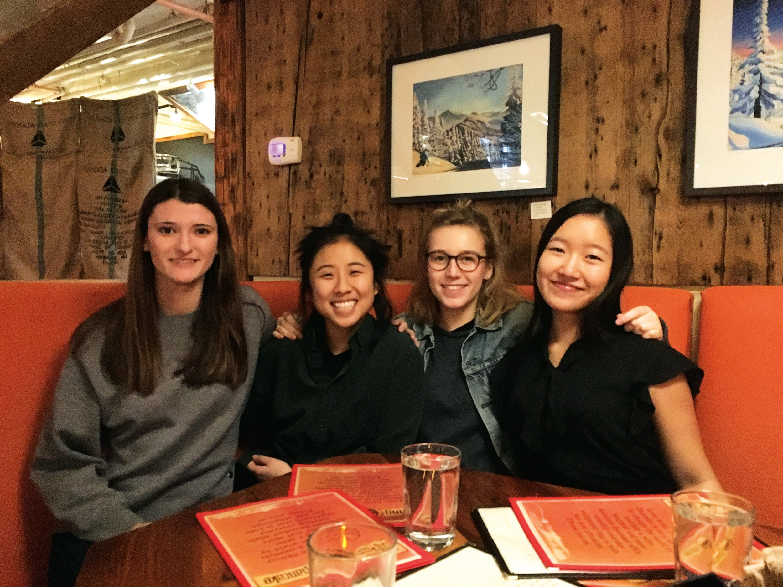 (L. to r.) Hattie Newton '17, Wendy Huang '14, Anne Muller '14, and Eva Wang '15 gathered for a young alumni dinner in Hanover, N.H.