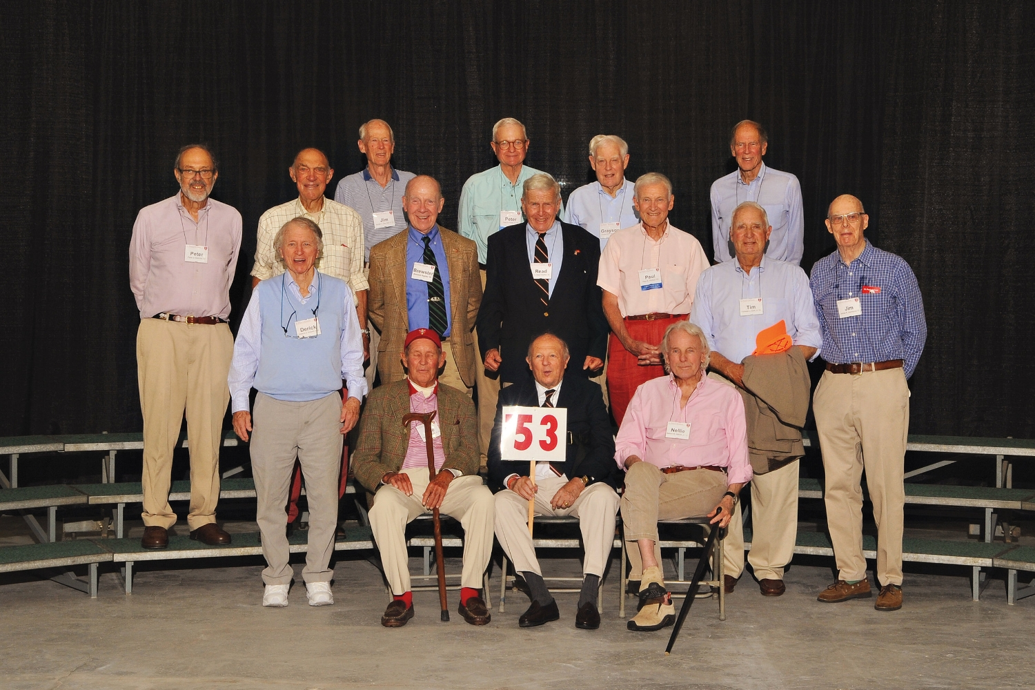 (L. to r.), row 1: Pete Bostwick, Wright Olney, Nellie Aldrich; row 2: Derick Nicholas, Tim Clark, Jim Hammond; row 3: Peter Swords, Ben Williams, Brewster Righter, Read Charlton, Paul Phillips; row 4: Jim Van Alen, Peter Paine, Grayson Murphy, and Norm Marsh.