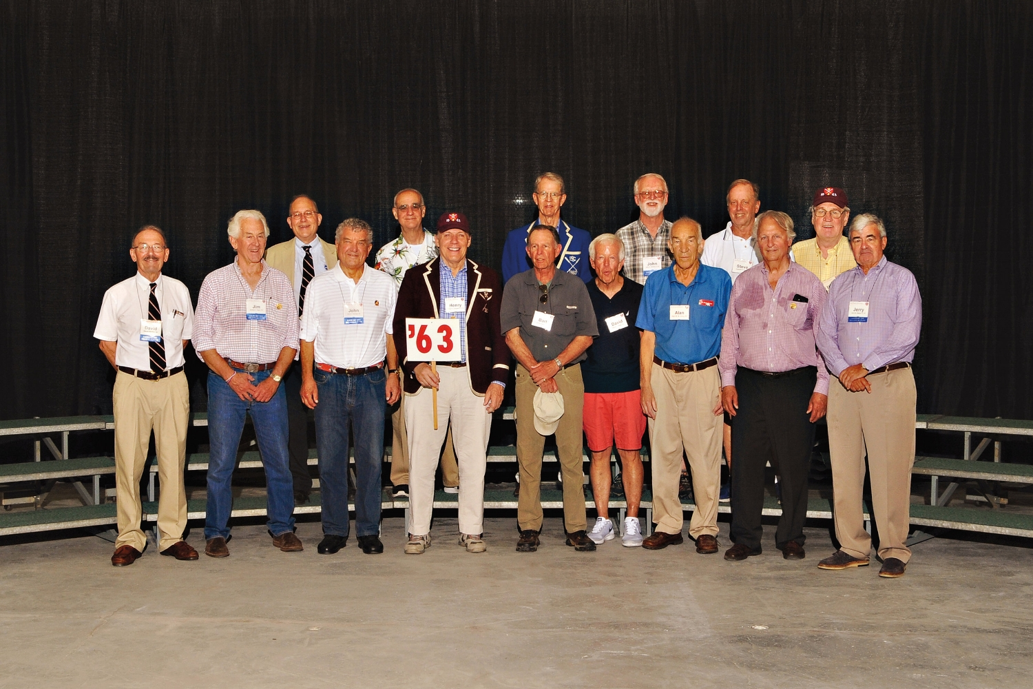 (L. to r.), row 1: David Gordon, Jim Taylor, John Groman, Henry Livingston, Bart Baldwin, David Allan, Alan Irving, John Ahlgren, Jerry Nelson; row 2: Cassius Webb, Bill Wright, Ryland Howard, John Gaines, Steve Orr, and Dave Evans.