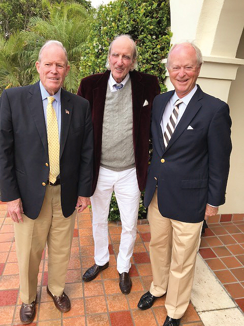 Formmates (l. to r.) Oggie White '55, Ted Hamm, and Steve McPherson in Jupiter Island, Fla.