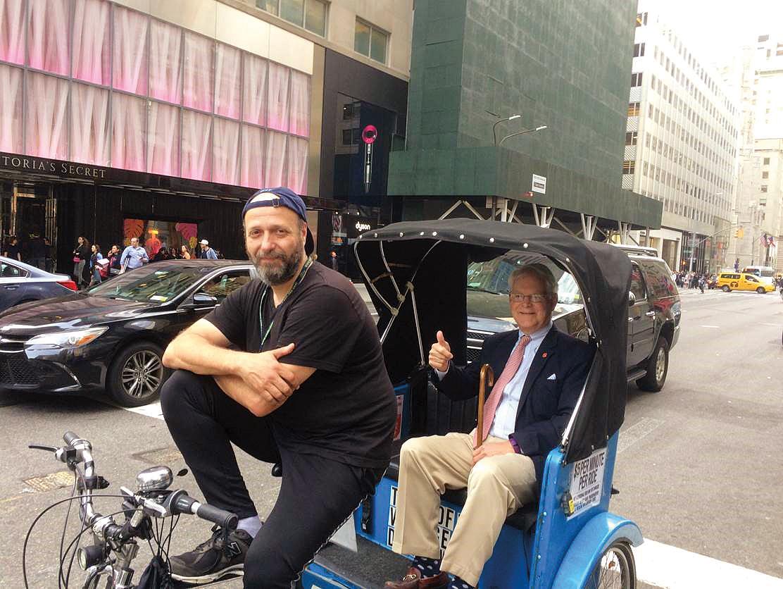 Joe Mechem '60 en route to the Form of 1960 dinner in New York City.