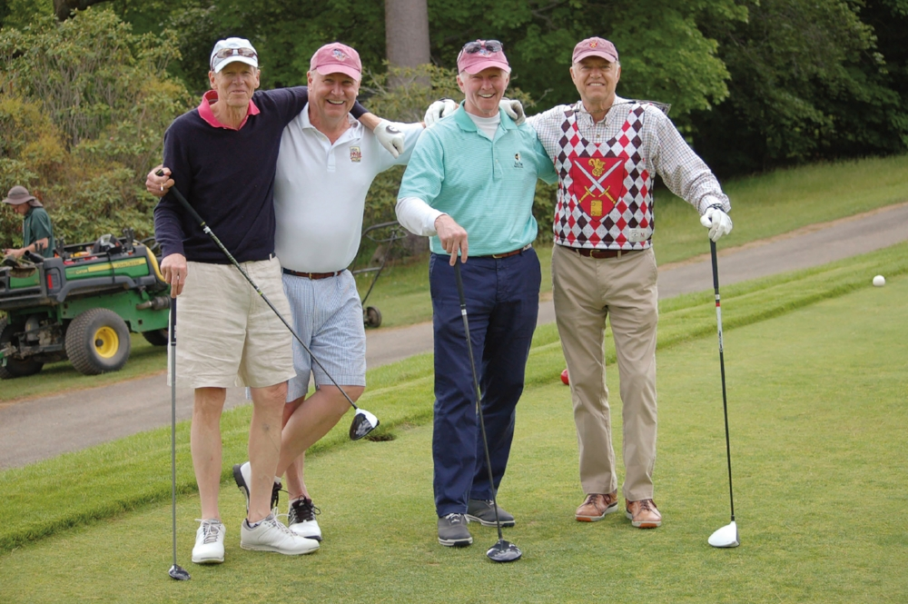 1968 Formmates (l. to r.) Tim Megear, Jim Robinson, Jim Colby and Tom Shortall hit the golf course.