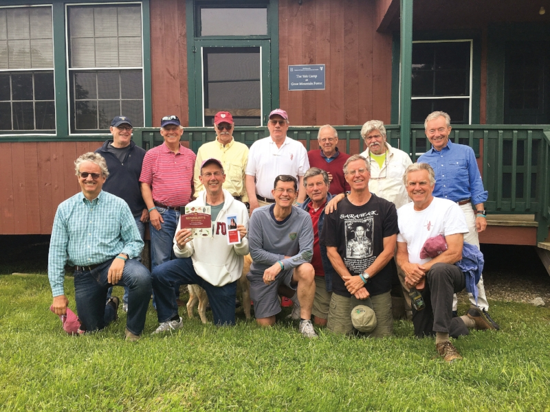Members of the Form of 1970 in Connecticut at a 48th reunion celebration (l. to r.), back: Chris Bartle, Craig MacColl, Chip Gowen, Steve Crandall, Don Lippincott, Guy Nouri, George Host; front: Doug Bateson, Sandy Stewart, Peter Culver, Tres Davidson, Nat Wheelwright, and Steve Moorhead.