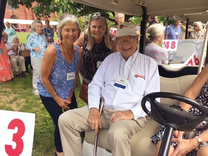 (L. to r.) Marny Kittredge '76, Nancy Kittredge Stockdale '74, and their father, Robert Peebles Kittredge '43, at his 75th reunion.