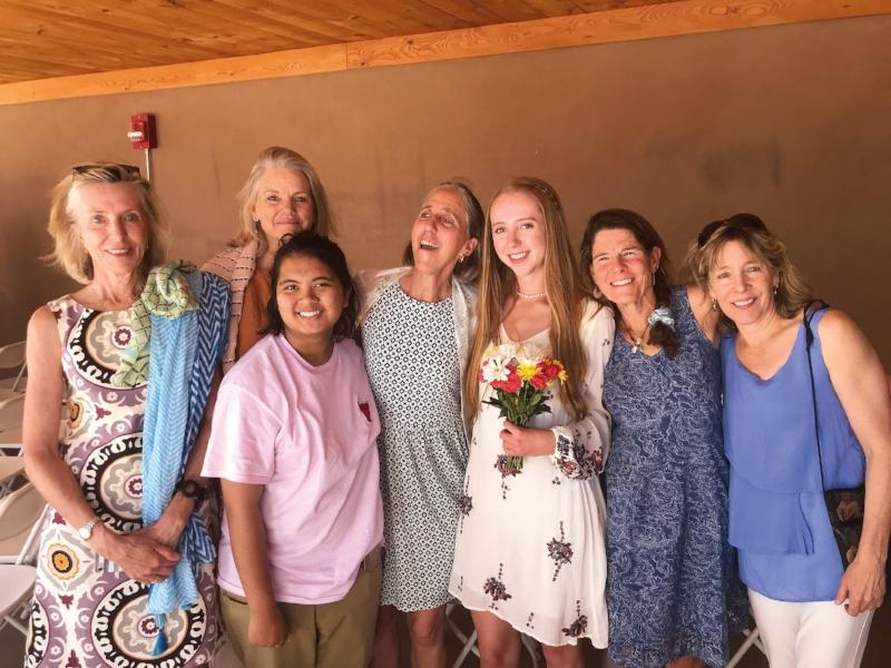 An SPS sisterhood in attendance at the Santa Fe Prep graduation of Julia, daughter of Kim Henning '77, (l. to r.) Kim's sister, Cynthia (Marshall) Shore '77, Cynthia's daughter, Kim, Julia, Shelley Robinson '77, and Betsy Armstrong '77.