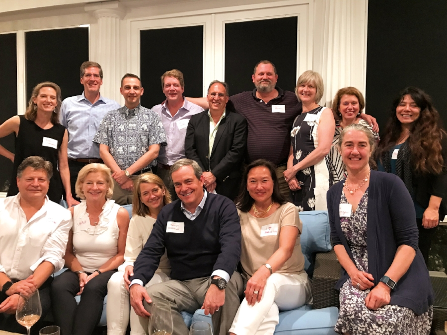 Jeff and Sarah Bankson Newton '79 hosted a dinner to welcome Jessica '81 and Sandy Douglas '79 to the Boston area. (L. to r.) back: Noel Danforth '81, Jim Jordan '79, Dave Stevenson '79, Seth Ward '79, Alan Khazei '79, Eugene O'Brien '79, Linda (Love) Mesler '79, Chris (Dillenbeck) Wood '79, Maria (Agui) Carter '81; front: Andy Schlosser '79, Sarah, Jessica, Sandy, Liz (Overton) Robbins '79, and Anne (Waskiewicz) Benning '79. (Not pictured: Adam Young '81, Kimball Halsey '79)