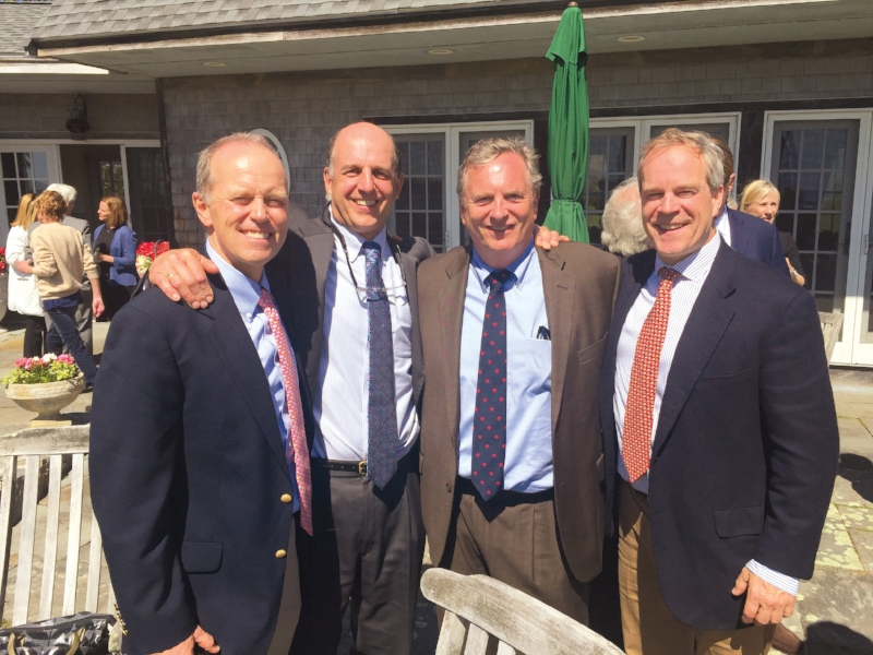Formmates (l. to r.) Ben Potter '80, David Nelson, Bill Stride, and Mason Wells in Gloucester, Mass.
