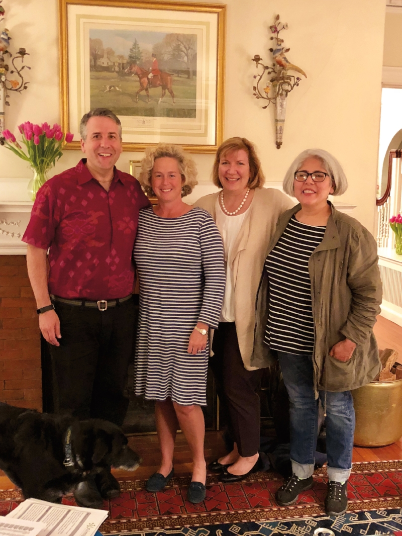 "Formmates from 1984 (l. to r.) Tom Lena, Ellie Waud Dorr, Jane Kalinski and Sandra ""Chani"" Palomino got together in April. (Not pictured: Chat Reynders and partners Claudia Reynders, Tim Dorr, and Shakti Rowan-Lena)"