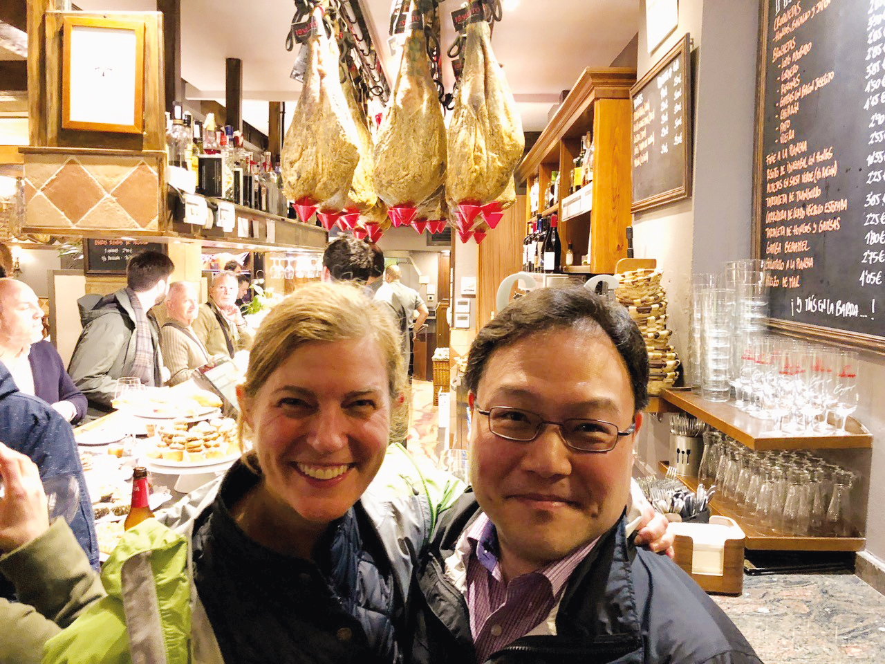 KT Taylor '93 and James Ahn '95 eating good food and celebrating 25-plus years since their study abroad in San Sebastian, Spain.