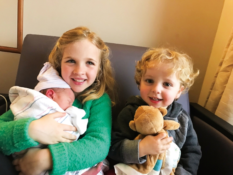 Morgan (l.) and Gus Esselen (r.) with brother Henry, children of Kate Esselen '98 and Alan Kurd '97.