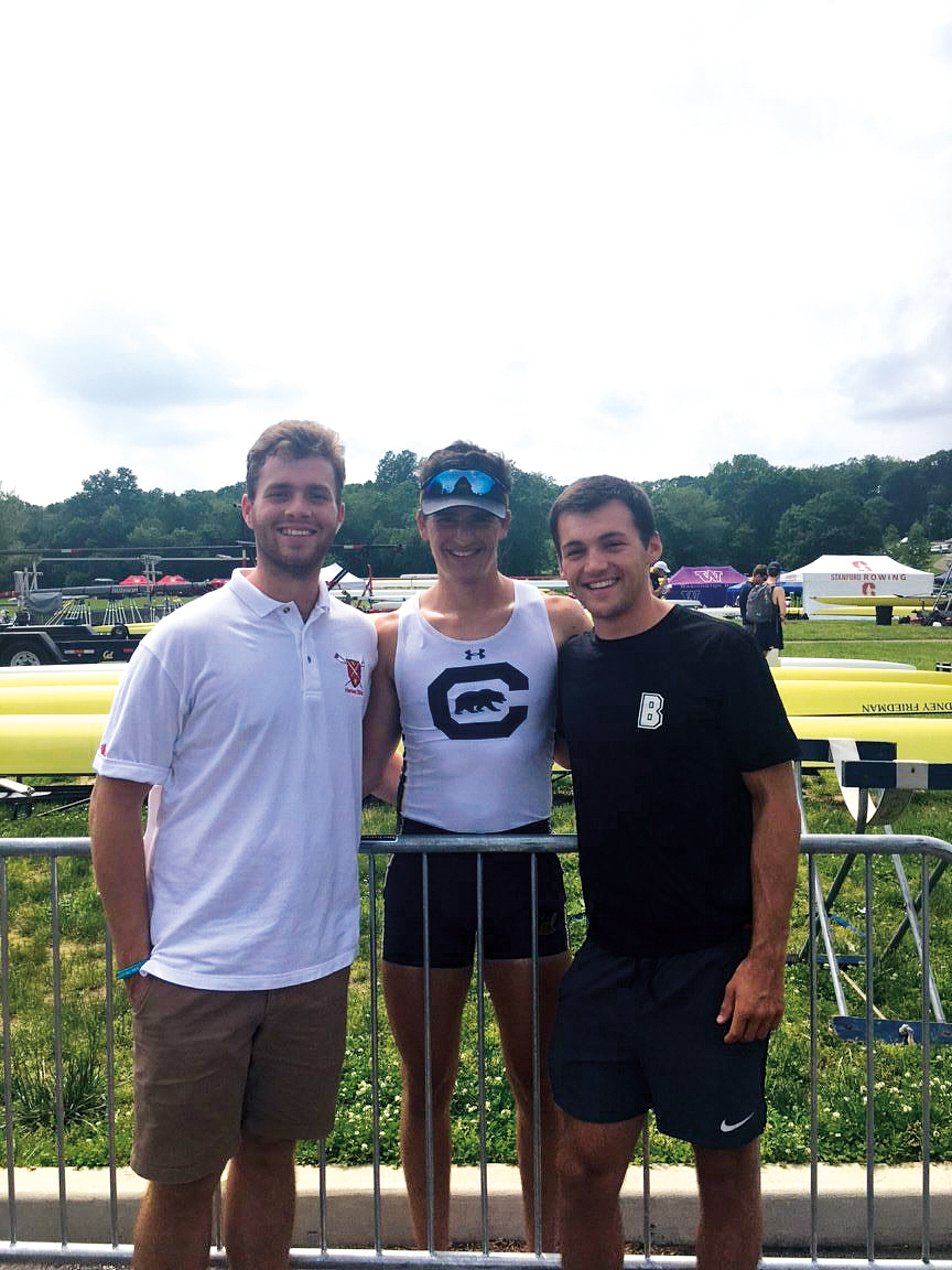 Webster Thompson '16 (l.), Jack Smith '16 (c.), and Gus Hirschfeld '17 (r.) at the IRA National Championships in Princeton, N.J.