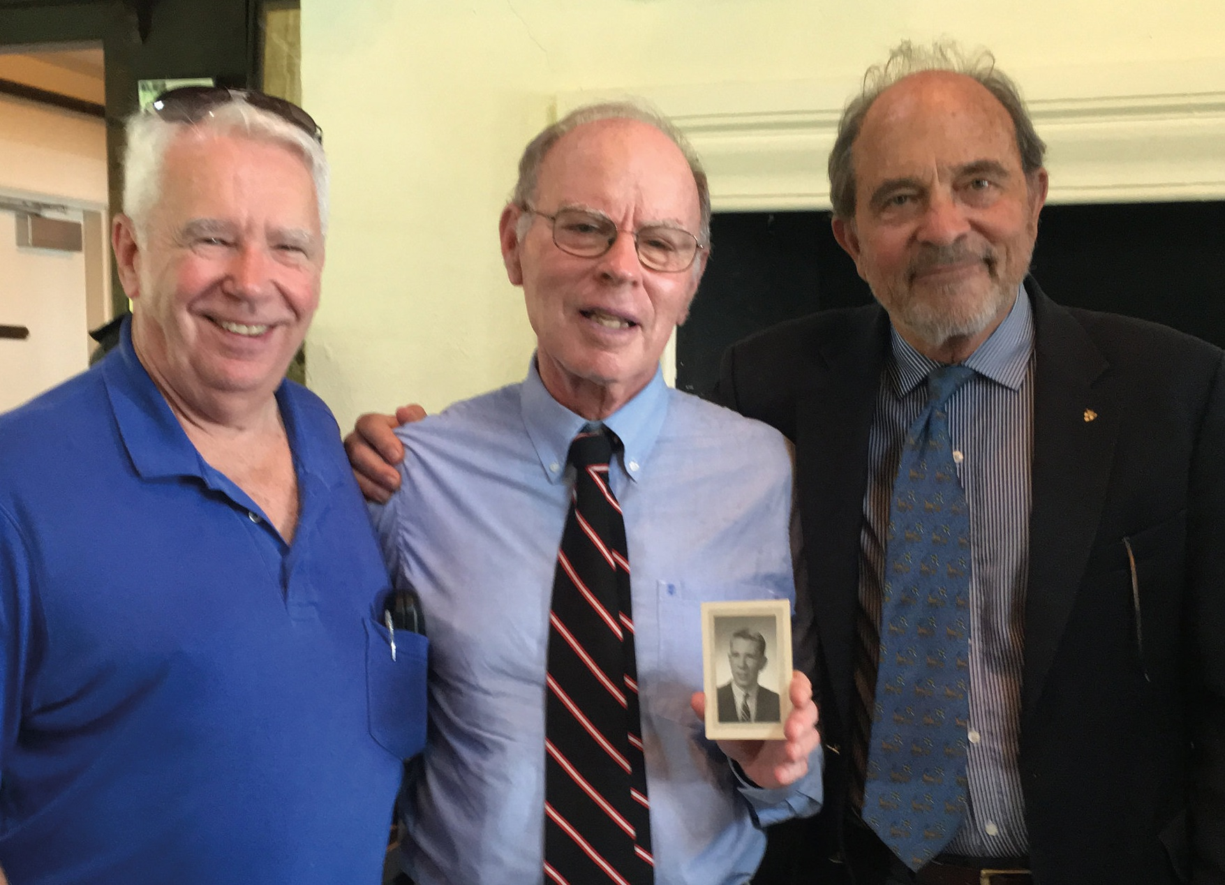 (L. to r.) Bill Eldridge '59, Bill Matthews '61, and David Atkinson '59 at the memorial service for Jimmy Gibson '59.