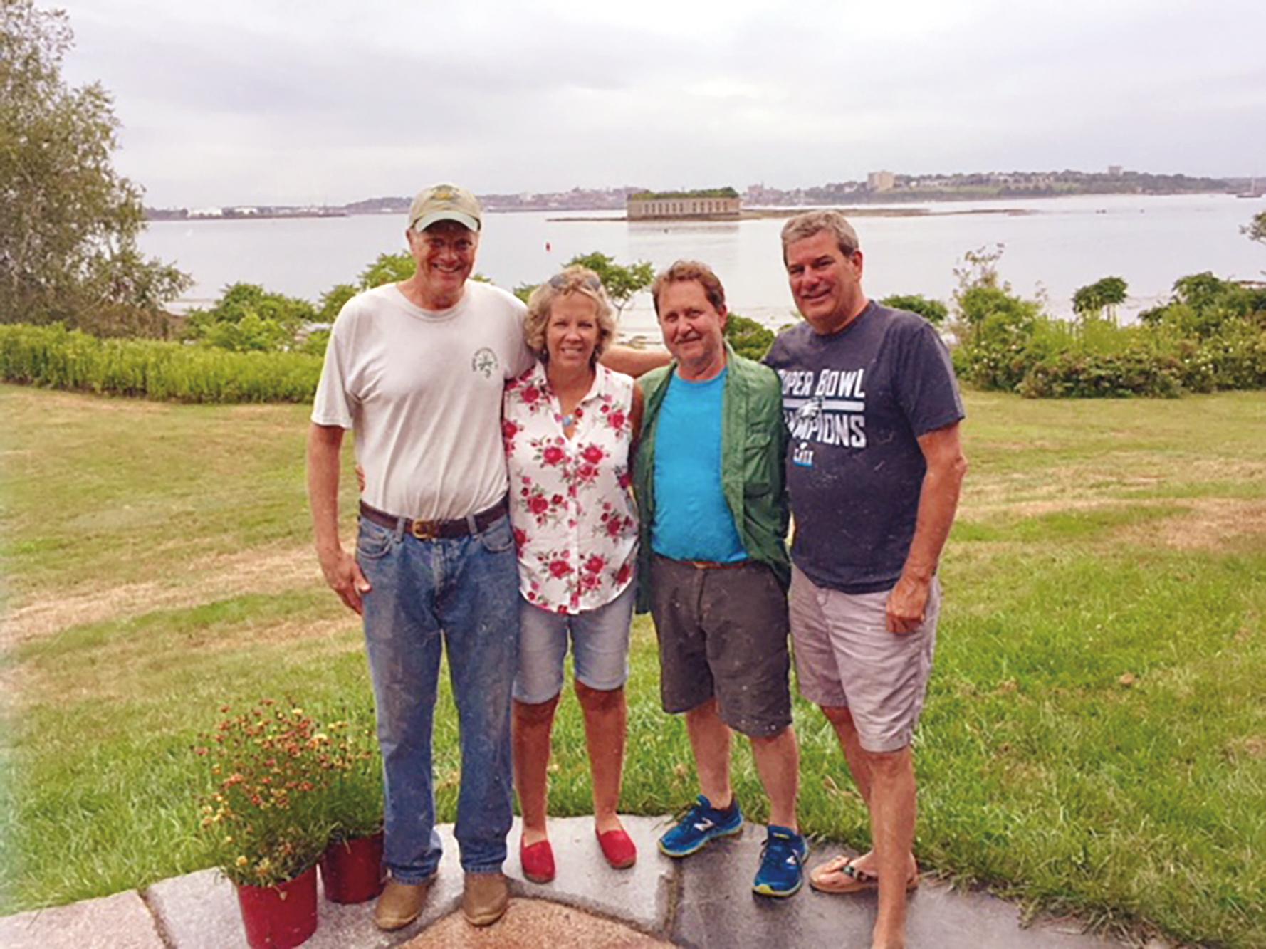 1977 Formmates (l. to r.) Bill Reynolds, Talie Ward Harris, Matthew St Onge, and Warren Ingersoll on Little Diamond Island in Maine.