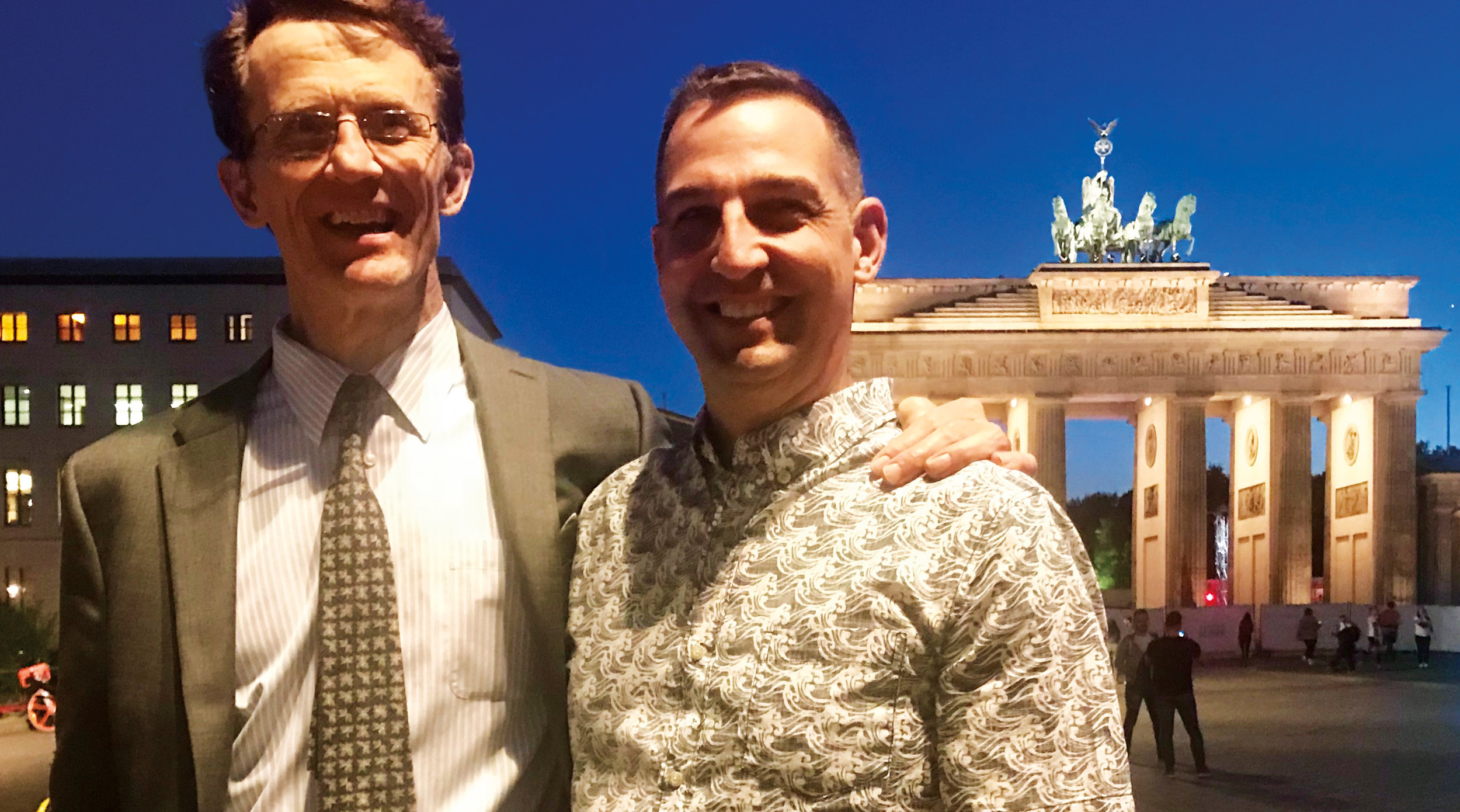 Bill Martin '79 (l.) hosted Dave Stevenson '79 during a recent trip to Berlin, Germany.