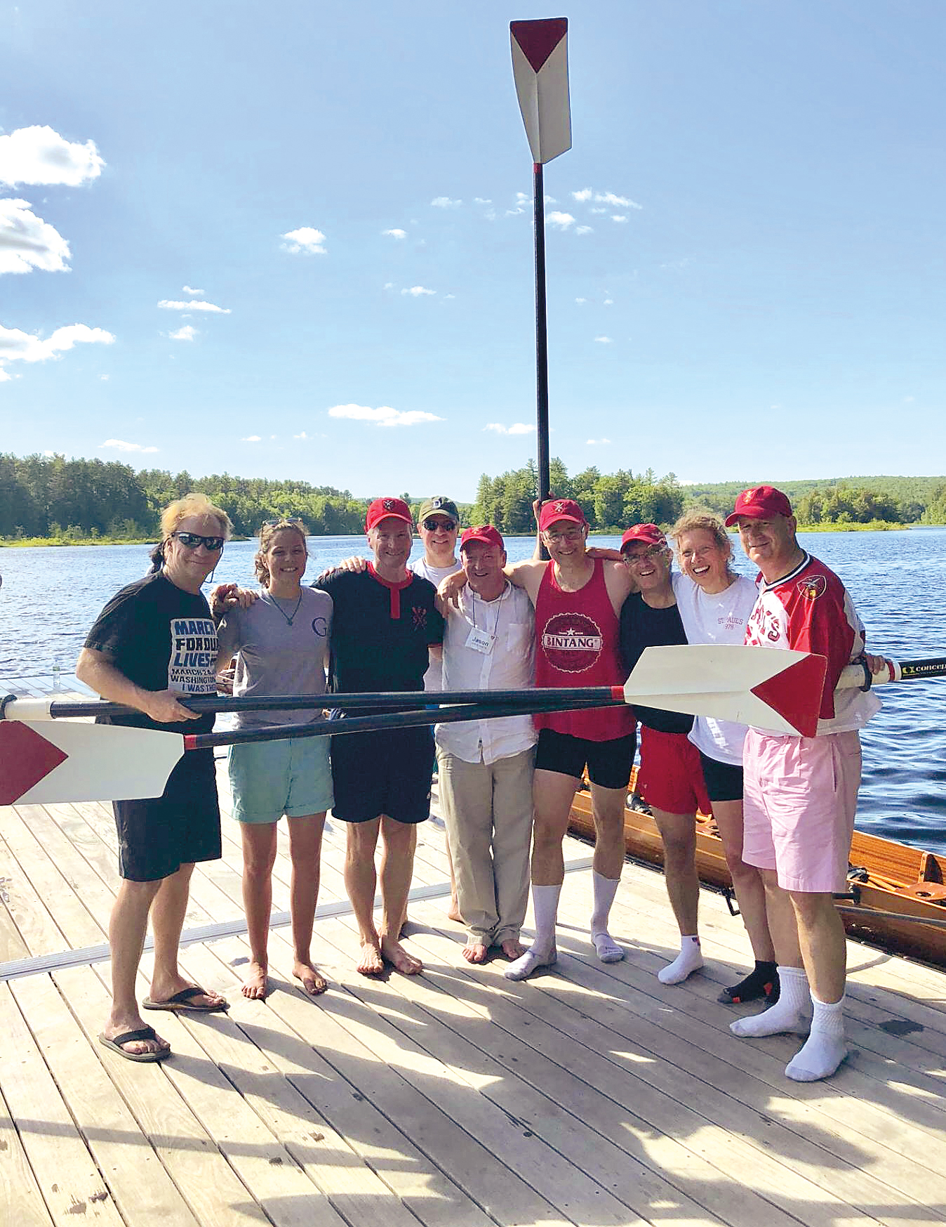 Maddox Angerhofer '18 (second from left), daughter of Melissa Solomon '80, served as coxswain for the Form of 1978 boat at Anniversary 2018.