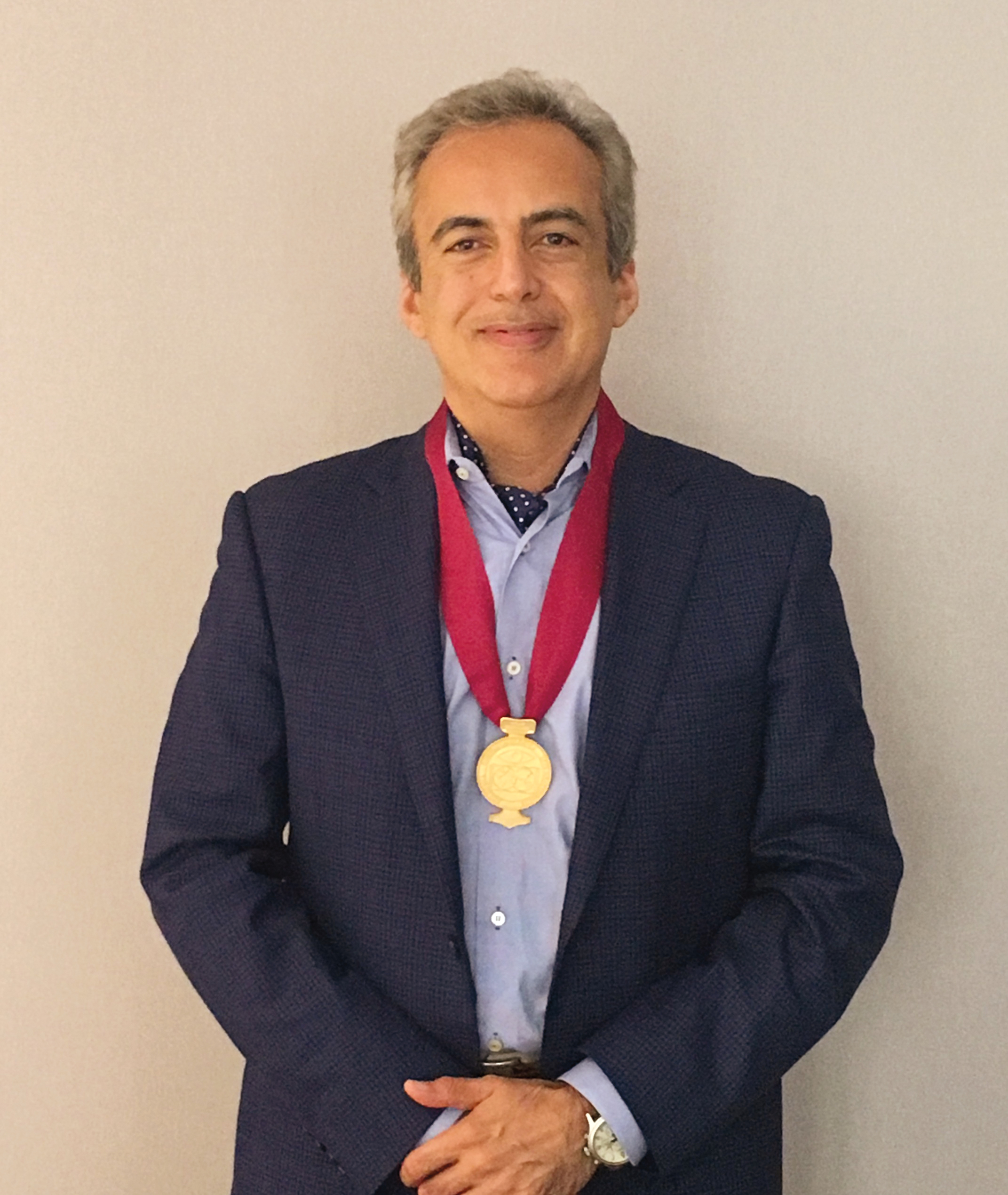 Reza Dana '81 in Barcelona, after receiving the Academia Internationalis medal in June.
