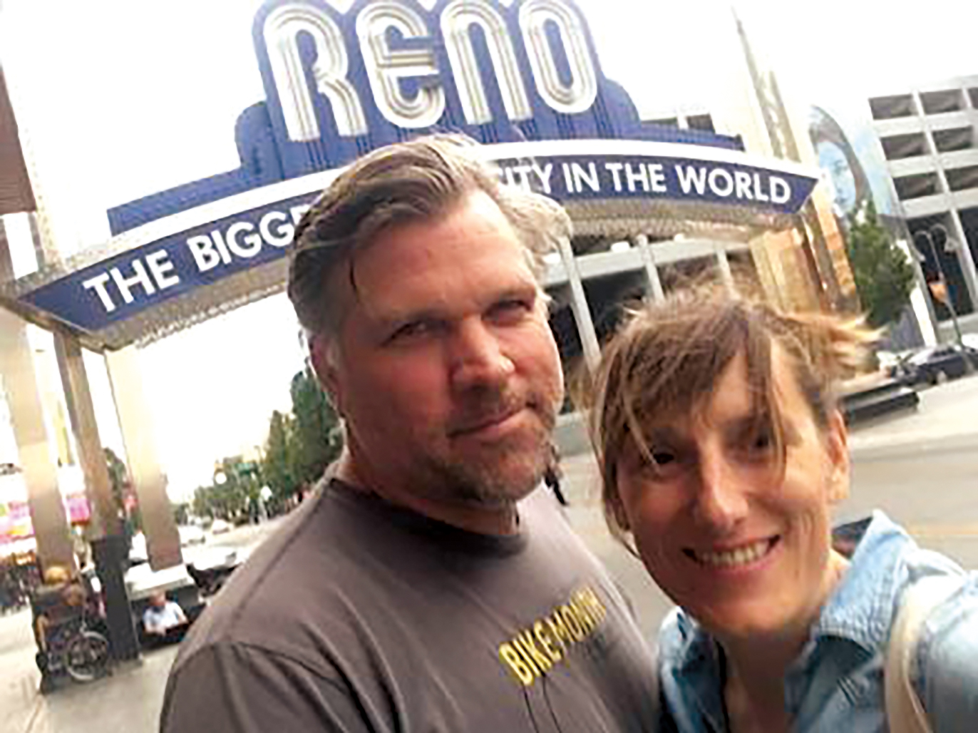 Toddy Burton '94 with her husband, Matthew Eames, in Reno, Nev.