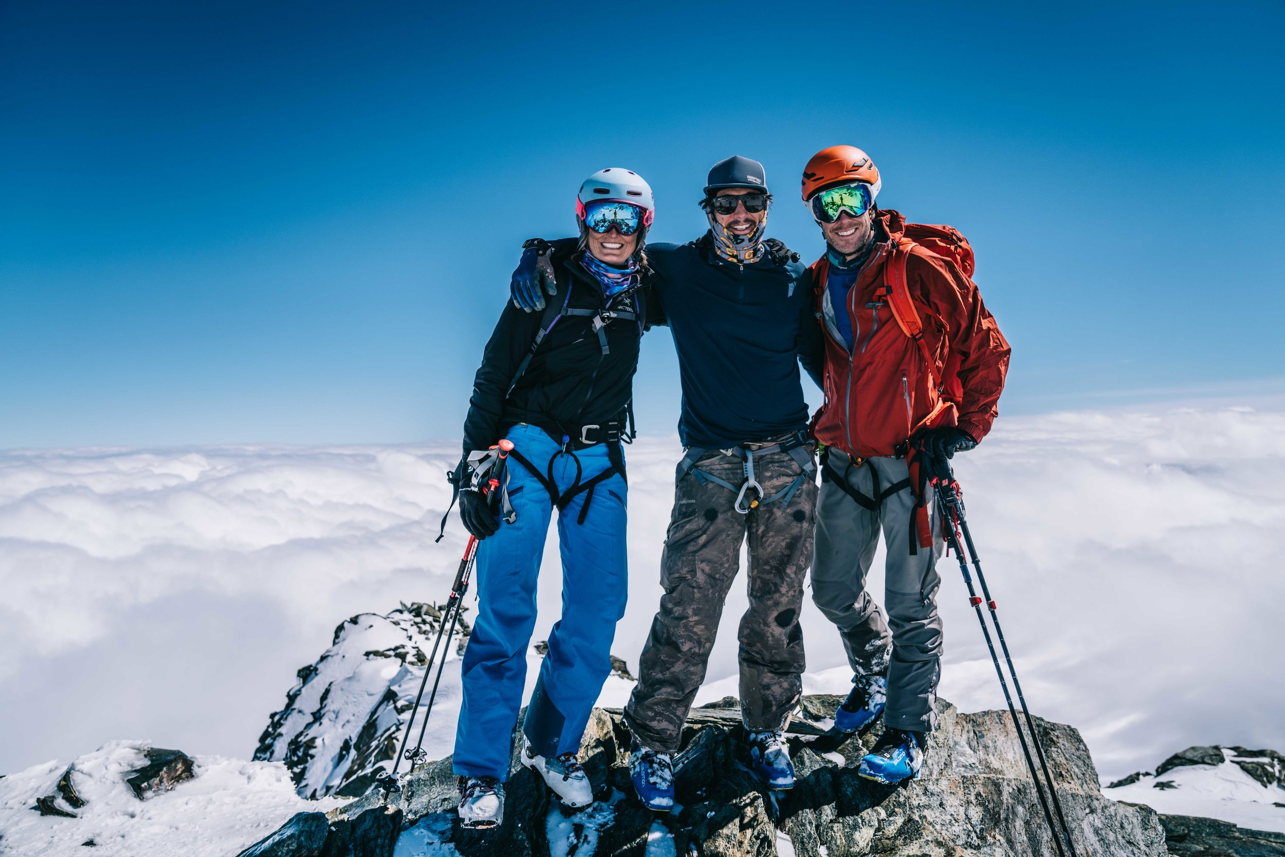 Formmates from 1997 (l. to r.) Kendall Krause, Grayson Schaffer, and Puck Wheaton in Zermatt, Switzerland.