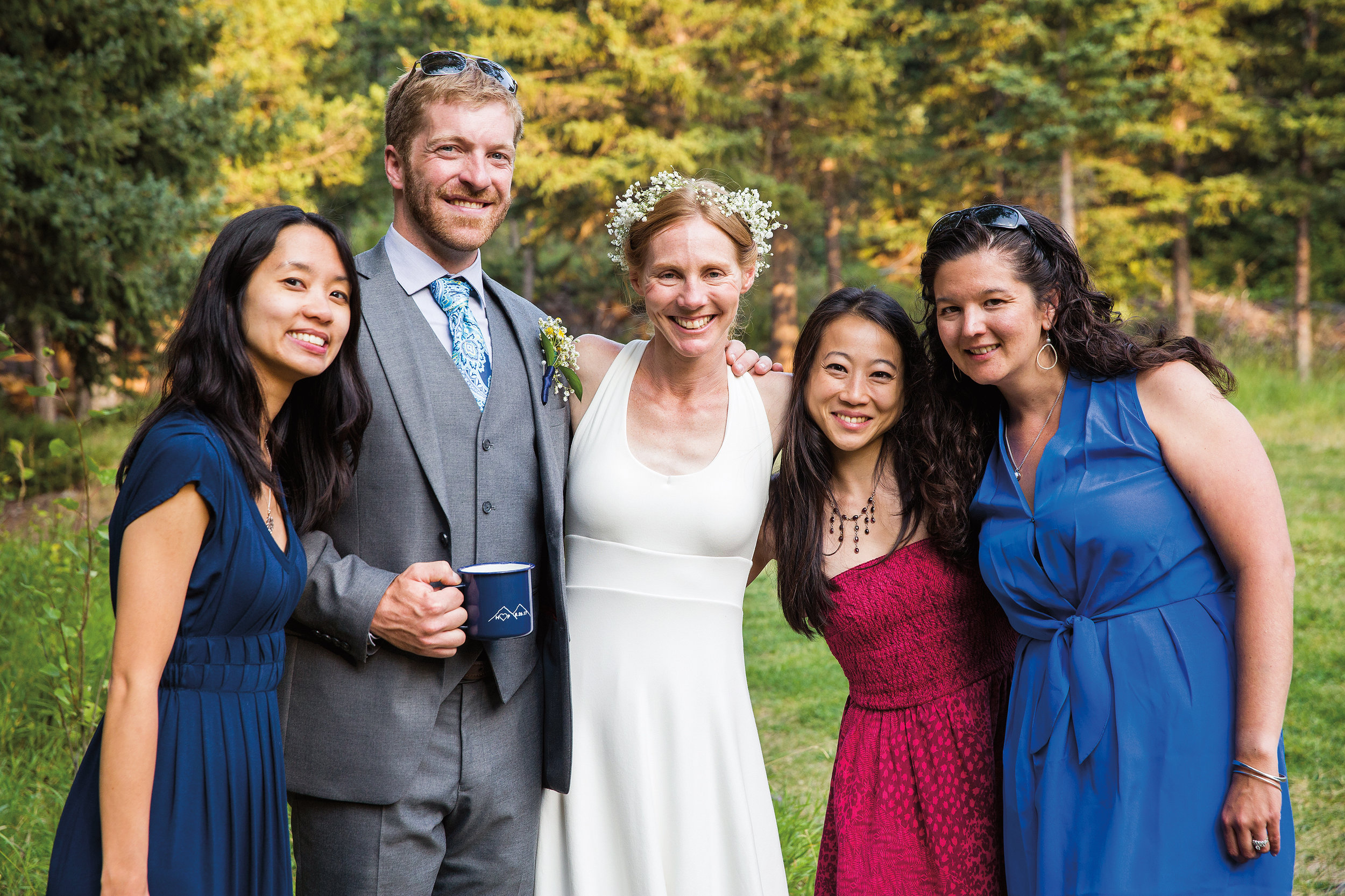 (L. to r.) Christine Louie '02, Patrick Cross, Hilary Eisen '02, Ginni Chen '02, and Kristen (Deane) Campbell '02, celebrating Hilary and Patrick's wedding in Red Lodge, Mont.