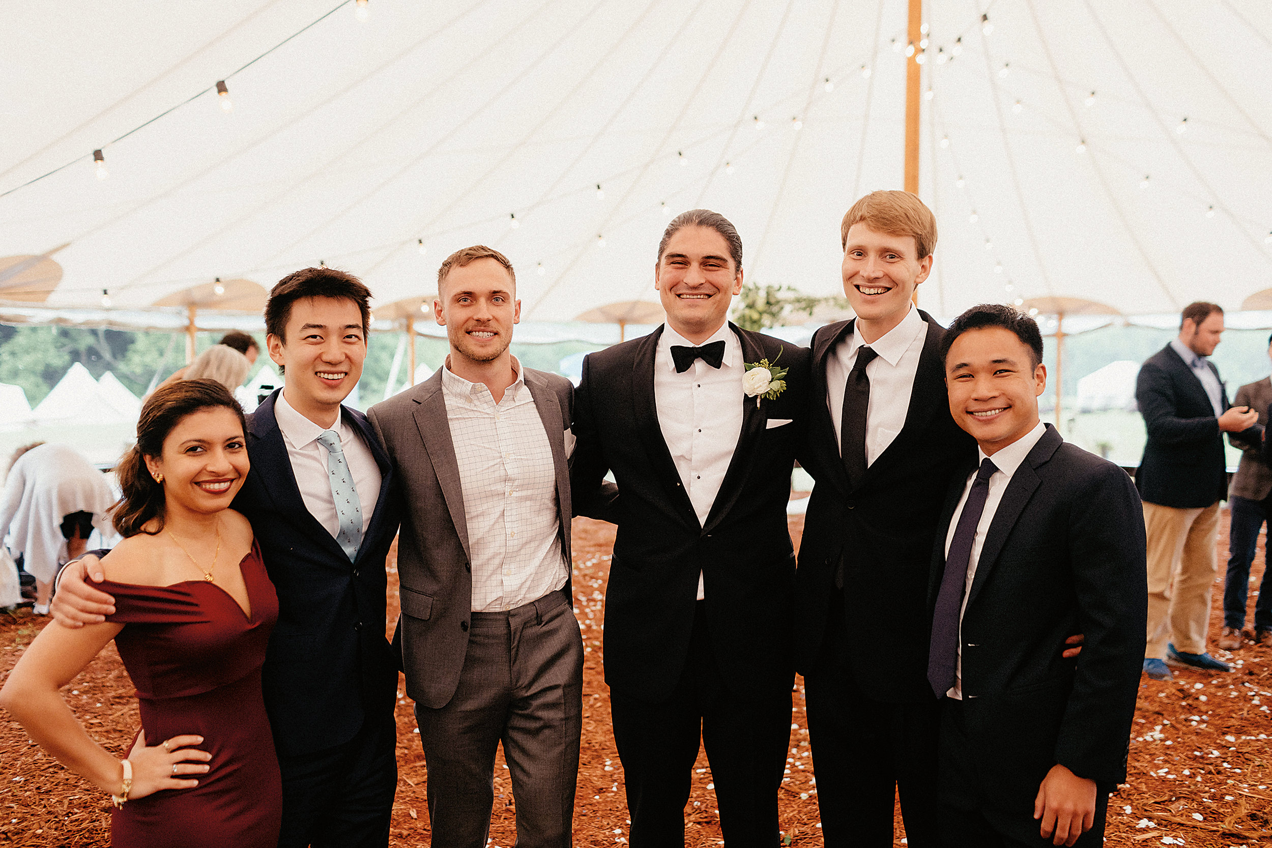 At the Catskills wedding of Rachel and Eric Jones '08: (l. to r.) Meherazade Sumariwalla, Michael Wong, Michael Michonski, Eric, Tony Ferraro, and Kai Neo.