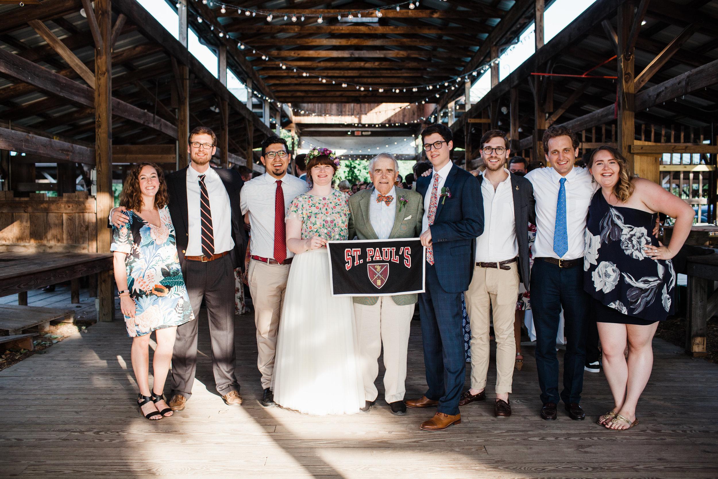 Sarah (Martie) Curran '12 married Alberto Arnedo Ruiz in Ithaca, N.Y., on July 13, 2018, alongside (l. to r.) Grace Cullinan '11, Andrew Clark '12, Enrique Granados '12, the bride, Ed Harding '54, the groom, Taylor Poulos '12, Woody Winmill '12, and Kate Borst '12.