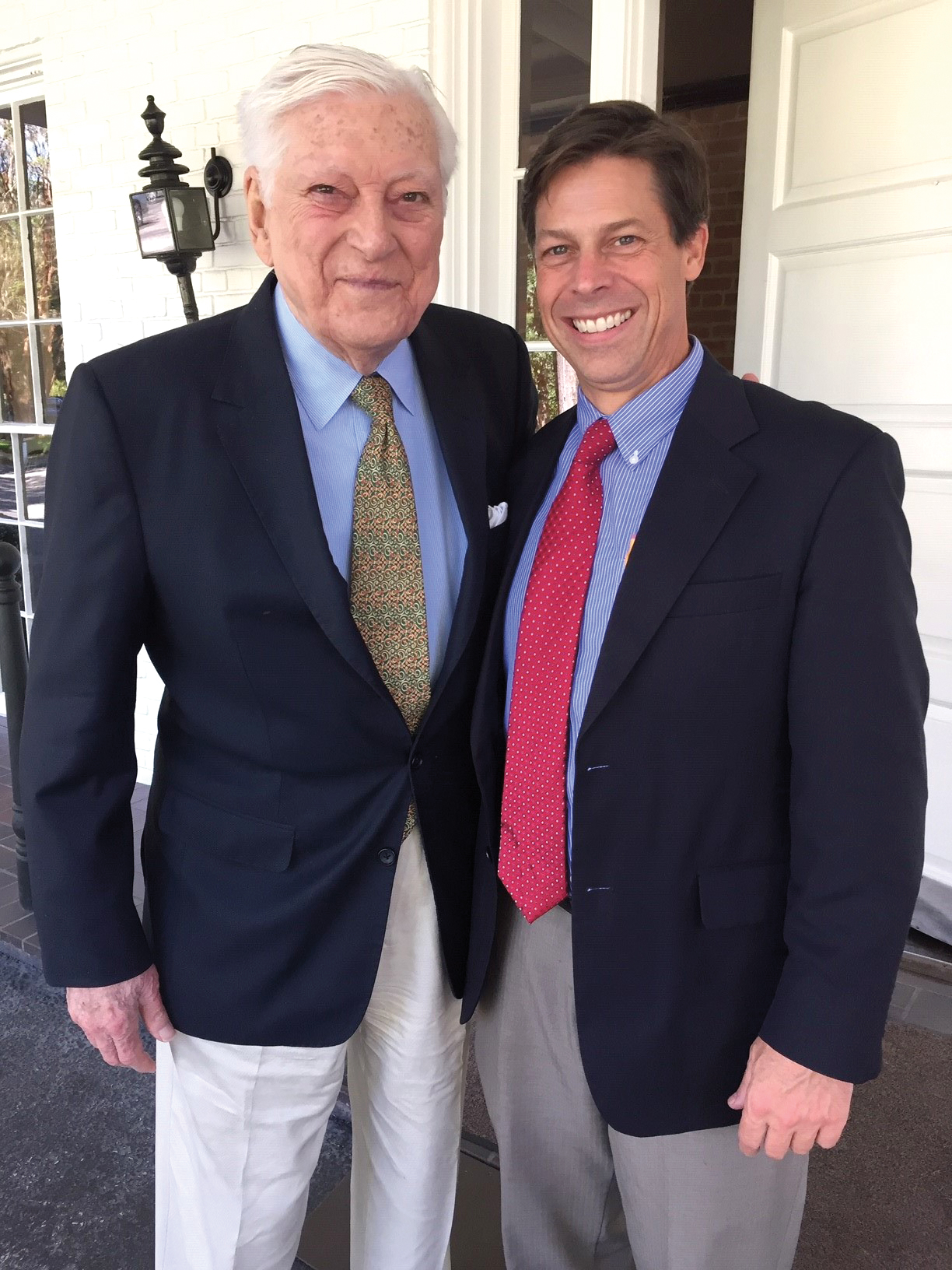 "Alexander ""Mike"" McLanahan '44 (l.) and Jim Barker '87 got together for lunch in Houston."