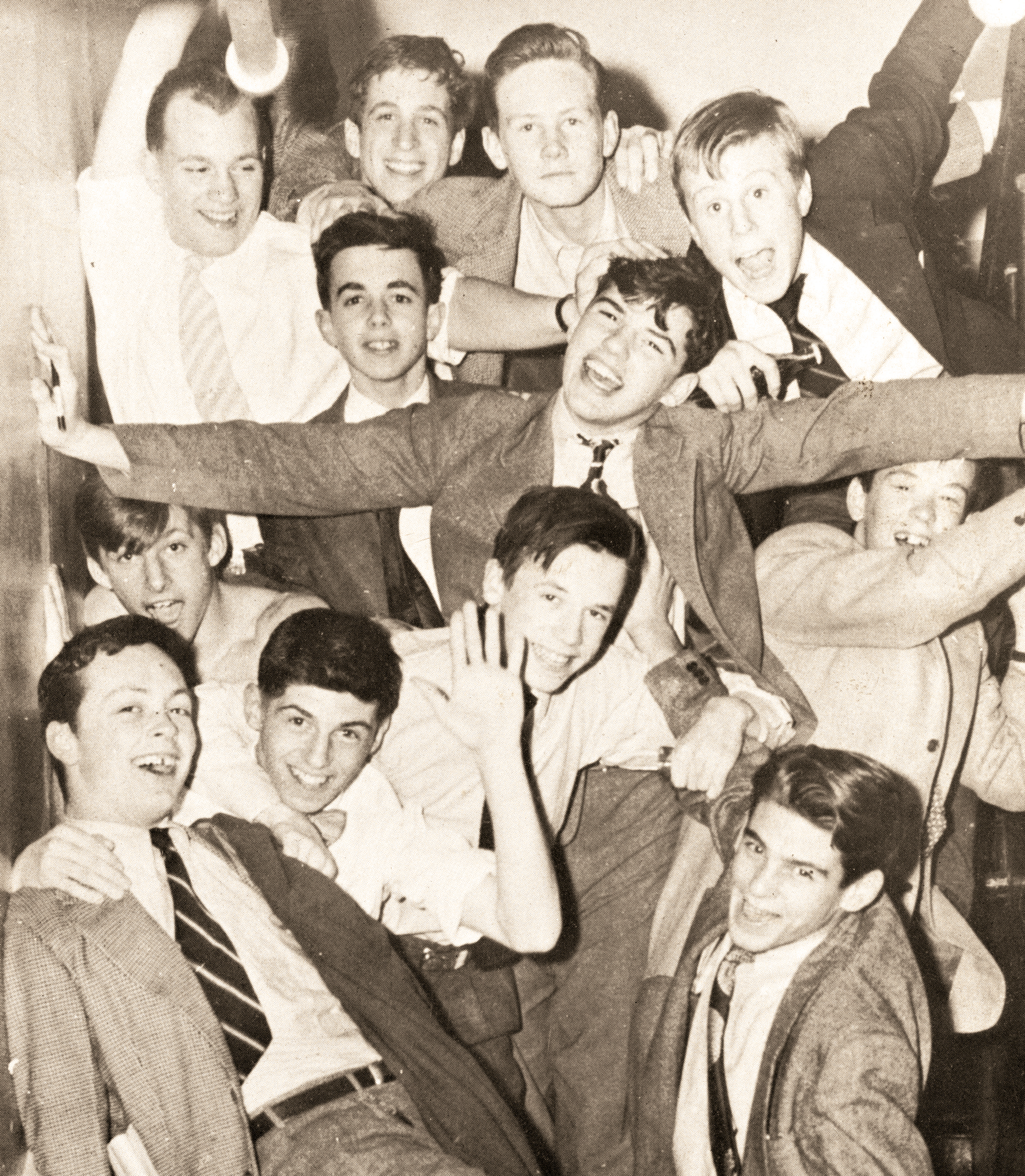 Mark Cluett '51 shares a Third Form photo taken by Charlie Friend '51. (R. to l.) top: Mike Metcalf, Dan Ford, Ebby Gerry, George Caldwell; second row: Peter Elliman, Mike Humphreys, Peter Stearns; third row: Ken Ives, Warren Wilson; fourth row: Fergie Reid, Peter Winans, Tadger Webster.