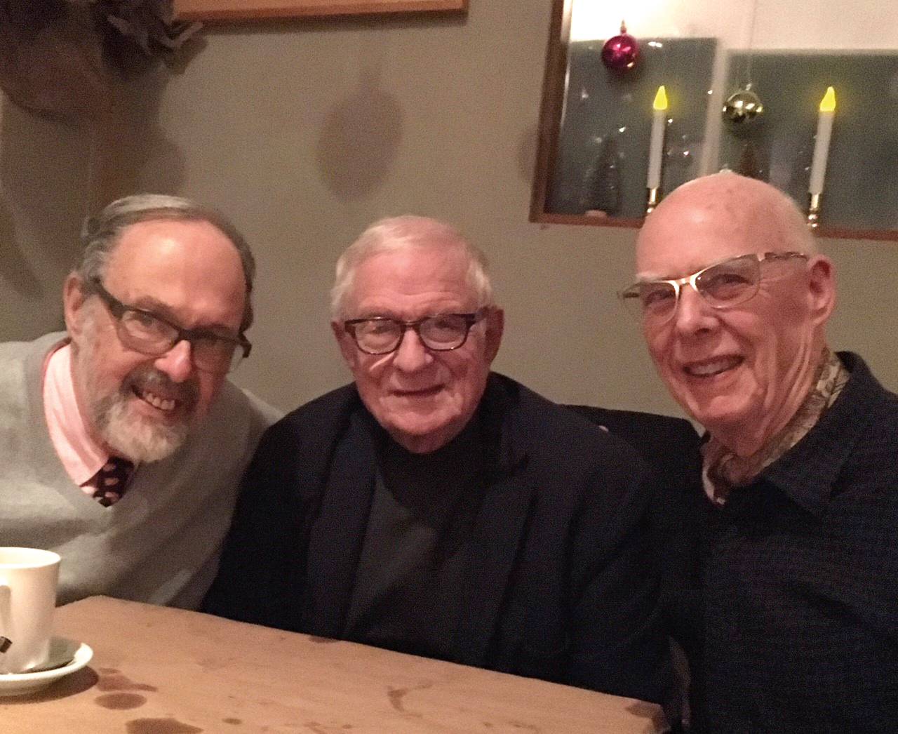 Form of 1953 formmates (l. to r.) Peter Swords, Nick Platt, and Jim Hammond met for dinner in New York.