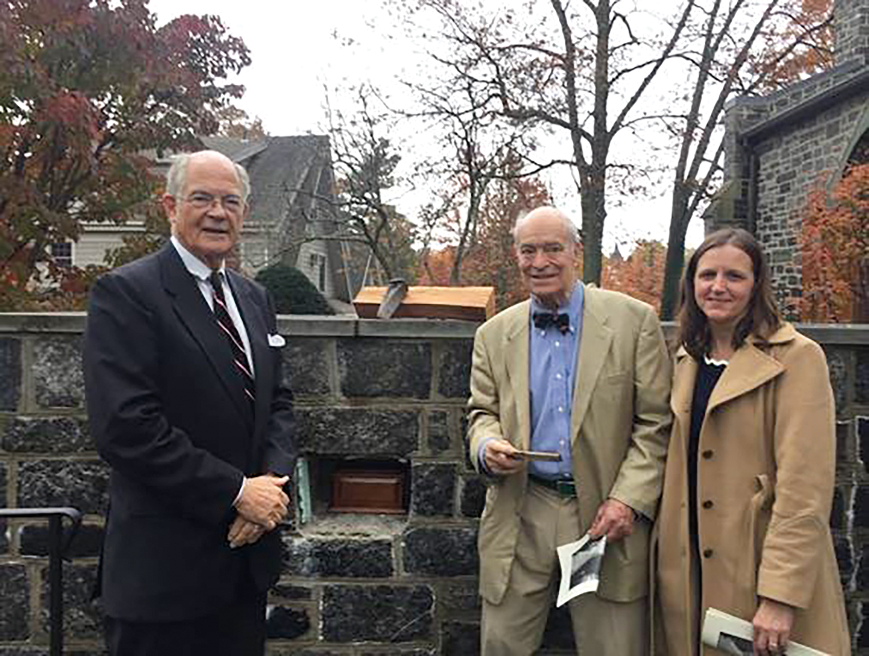 (L. to r.) Guy Rutherford '58, Patrick Rulon-Miller '58, and Melissa Walters at the final resting place of Bill Kirk '58, St. Luke's Parish, Darien, Conn.