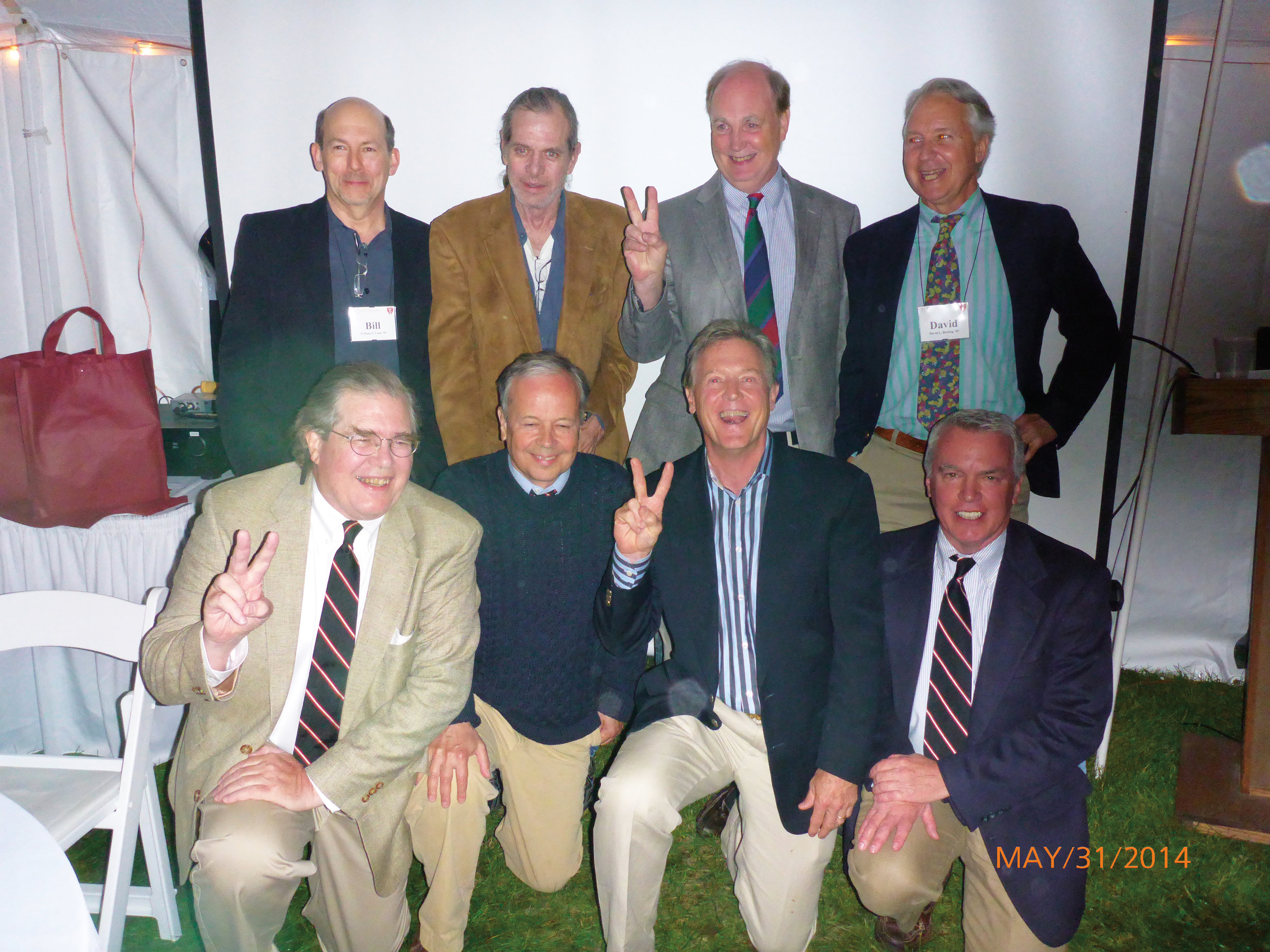 Members of the Form of 1969 who attended Woodstock gathered at their 45th reunion: (l. to r.) front row: Trip Farnsworth, JQ Adams, Terry Hunt, Tom Iglehart; second row: Bill Lane, Steve Lievens, Charlie Hickox, and David Burling.