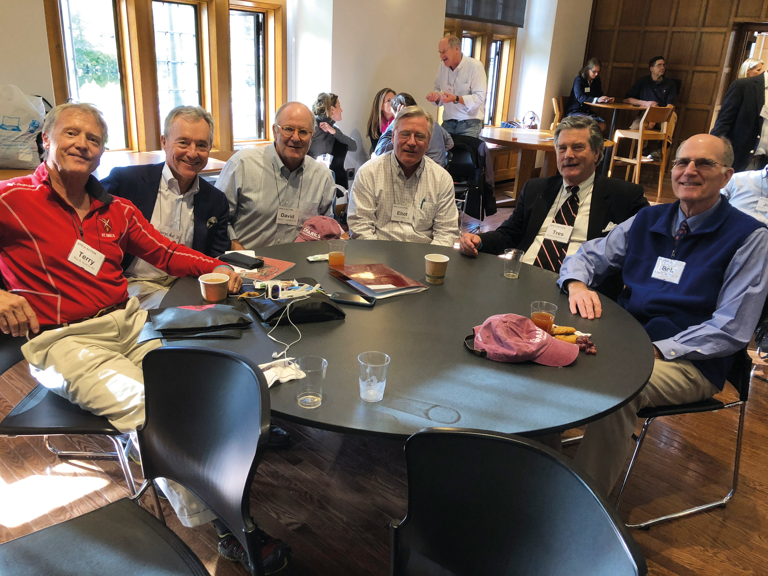 (L. to r.) Terry Hunt '69, George Host '70, Dave LeBreton '69, Eliot Larson '69, Tres Davidson '70, and Bob Rettew '69 at SPS in Action weekend.