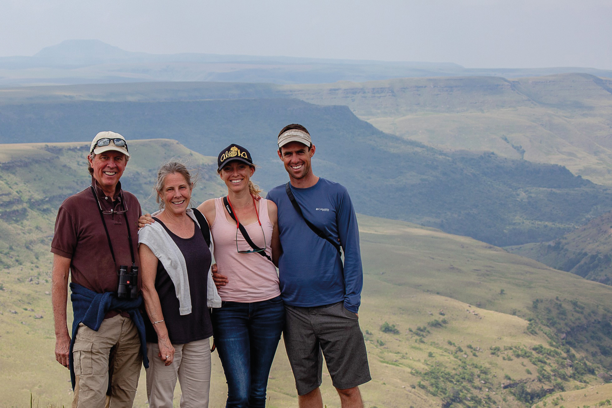 Sally Keating '72 (second from left) and her husband, Michael, visited their daughter, Clare, and son-in-law, Ryan, in South Africa.