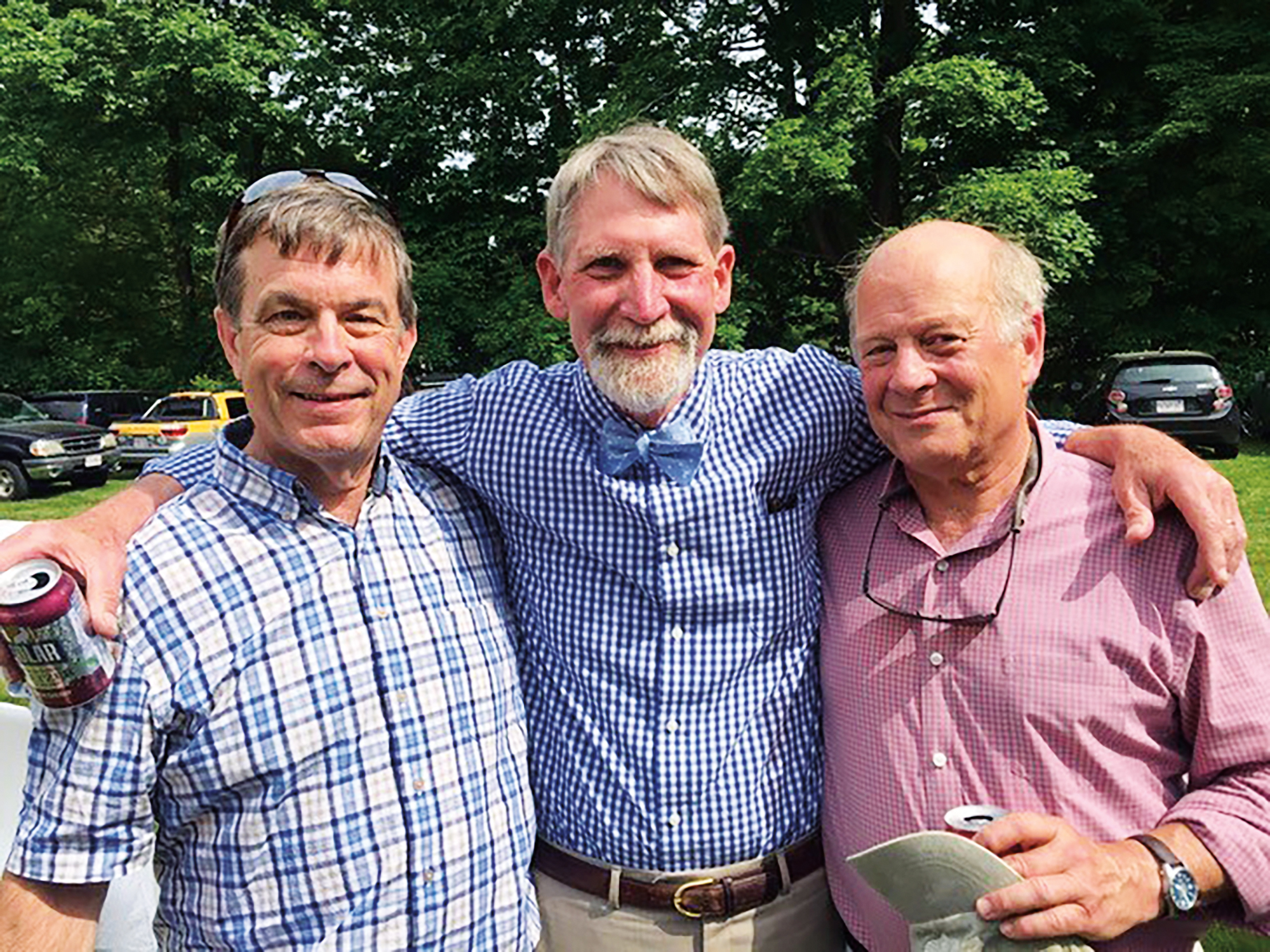 (L to r.) Rick Witsell '74 and formmates Mitchell Wondolowski and Matt Dallett at the wedding of Mitch's daughter, Sophie.