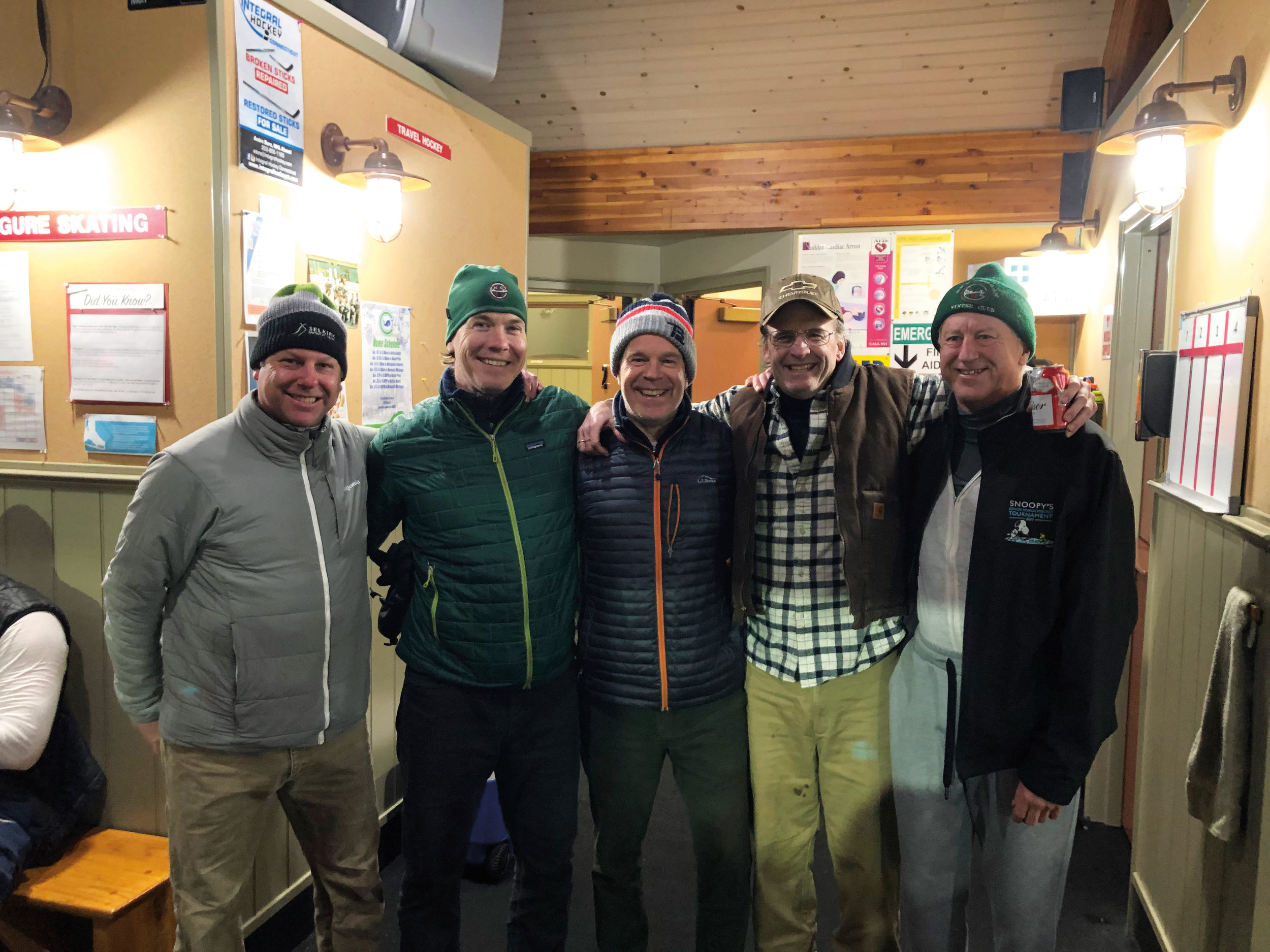 Former SPS hockey greats (l. to r.) Bancroft Jones '88, Joe Zorumski '95, Mason Wells '80, Jon Old '78, and Pete Bostwick '74.