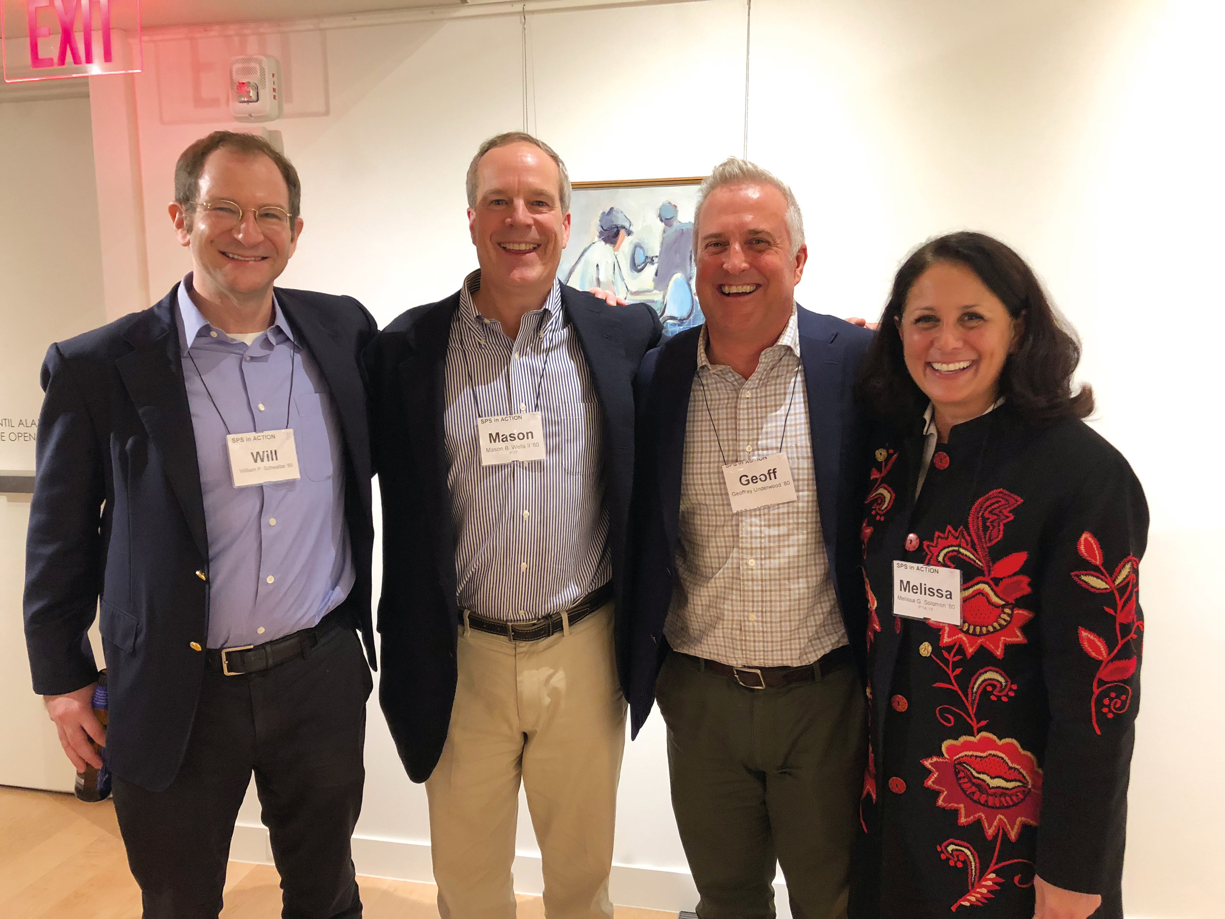 1980 formmates (l. to r.) Will Schwalbe, Mason Wells, Geoffrey Underwood, and Melissa Solomon at the dedication of the newly opened Crumpacker Gallery.
