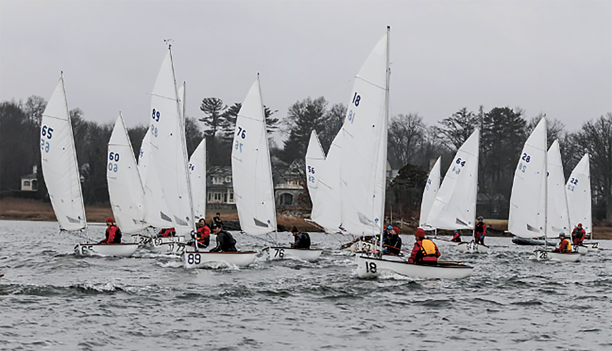 The frostbiting dingy (for winter sailing) shared by Beck Laverge '88 and Tom Rein '98 in Riverside, Conn.