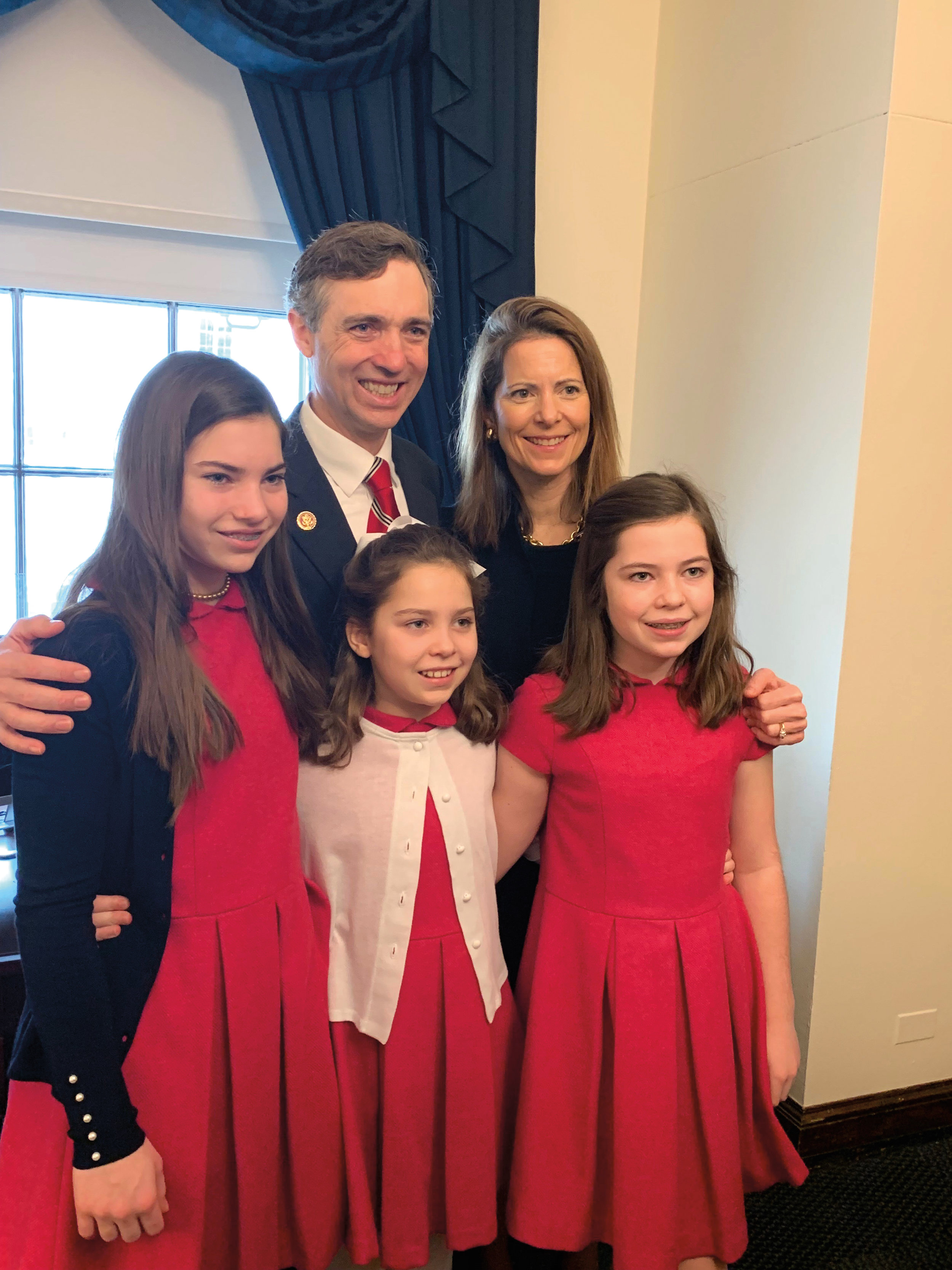 Van Taylor '91 with his wife, Anne, and daughters (l. to r.) Laura, Susie, and Helen prior to his swearing in as a Texas congressional representative.