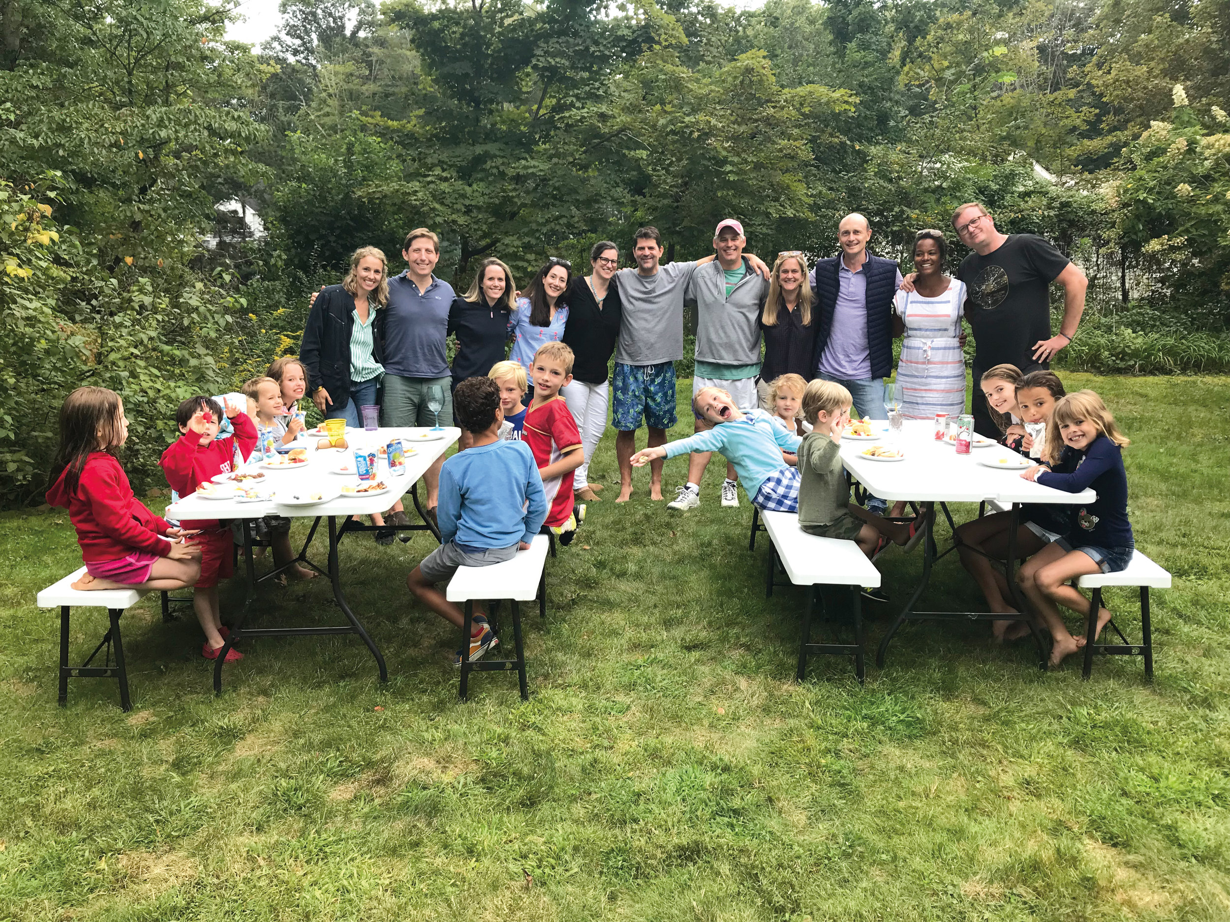 SPS was well represented at a barbeque in Westport, Conn., this fall: (l. to r.) back: Charlotte Martin Smith '93, Adam Ronzoni (husband of Charlotte Relyea '92), Connie Cocroft Brown '92, Charlotte Relyea '92, Sarah Rulon-Miller Dennis '92, John Dillon '92, Mark Smith '92, Abigail Manny Newport '92, Benito Moyer '92, Cortney Johnson Stanley '92, and Gareth Stanley (Cortney's husband); front (l. to r.) Claire Ronzoni, Graham Ronzoni, Louisa Smith, Arthur Smith, Eleanor Smith, Archer Stanley, Wes Moyer, Oliver Smith, Martha Smith, Etta Moyer, Tully Newport, Cecelia Dillon, Ellis Stanley, and Lydia Dillon.