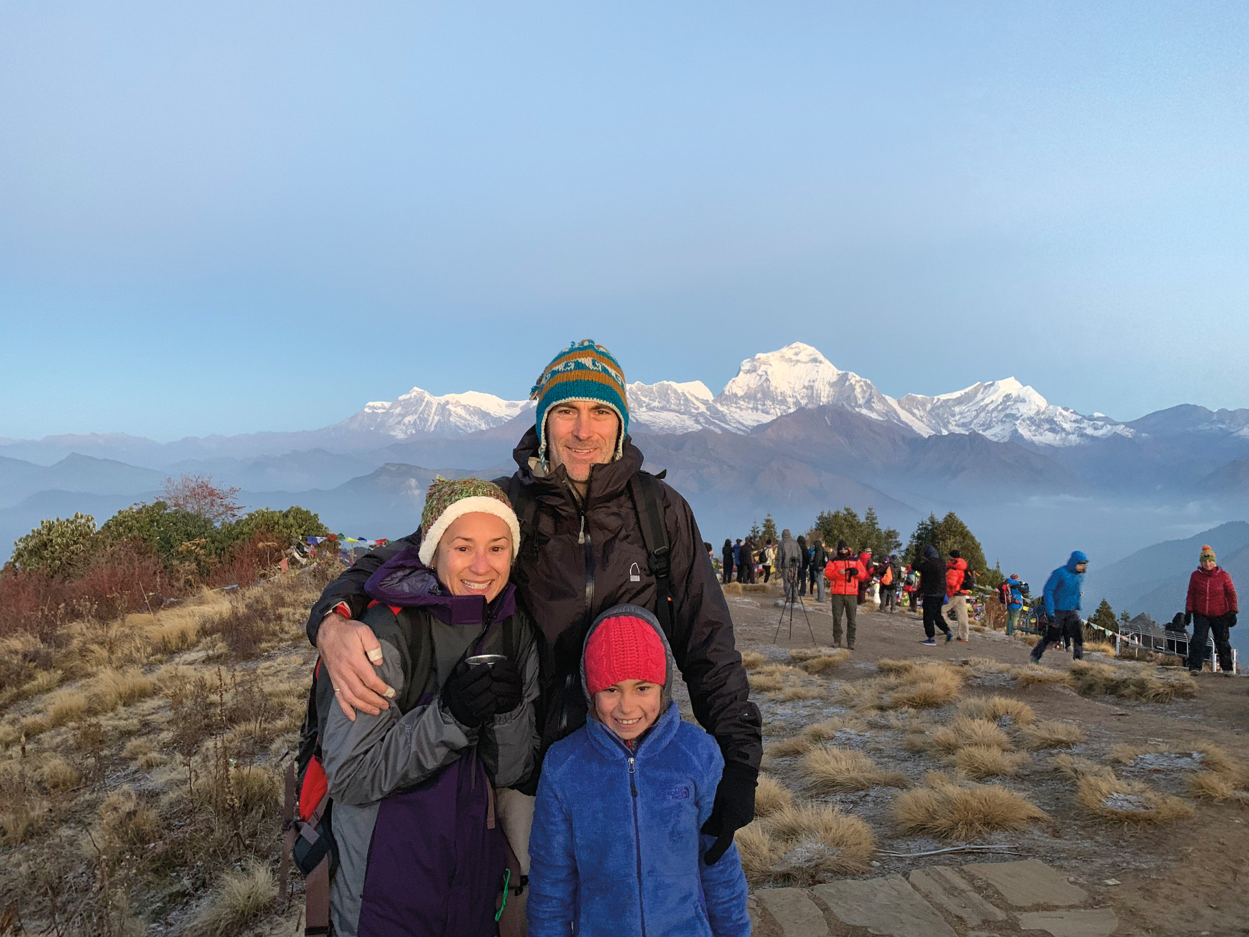 Trevor Patzer '92 with his wife, Mari, and their daughter, Sofie (8), in Nepal.