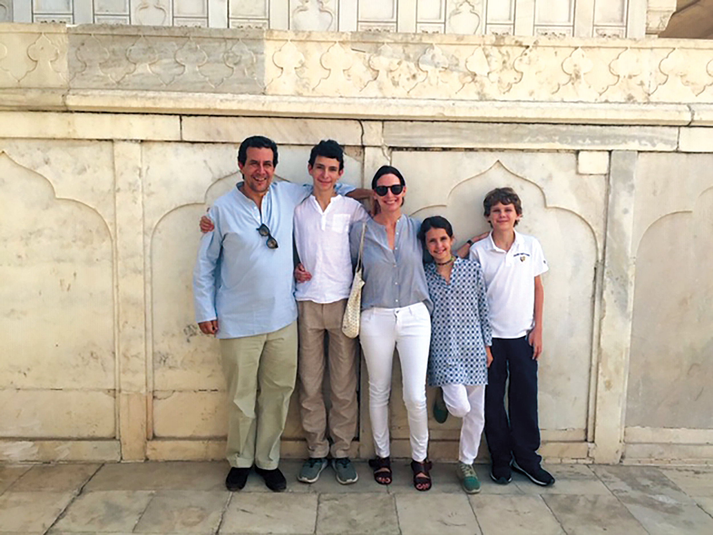 Caroline Cook '95 and her family at the Red Fort in Agra, India.