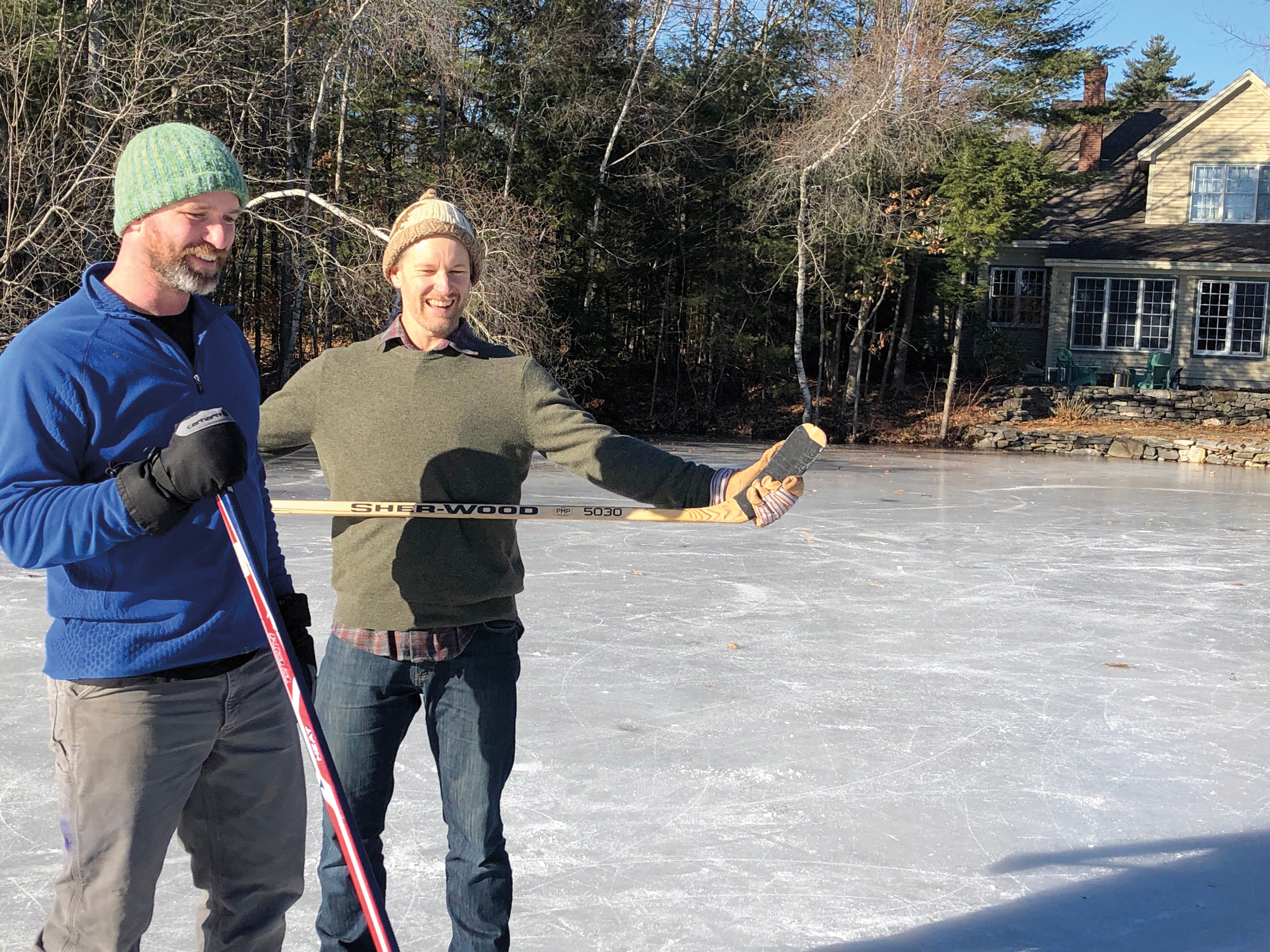 Robert Cushman '99 bumped into Jake Keeler '99 playing pond hockey in Portland, Maine.