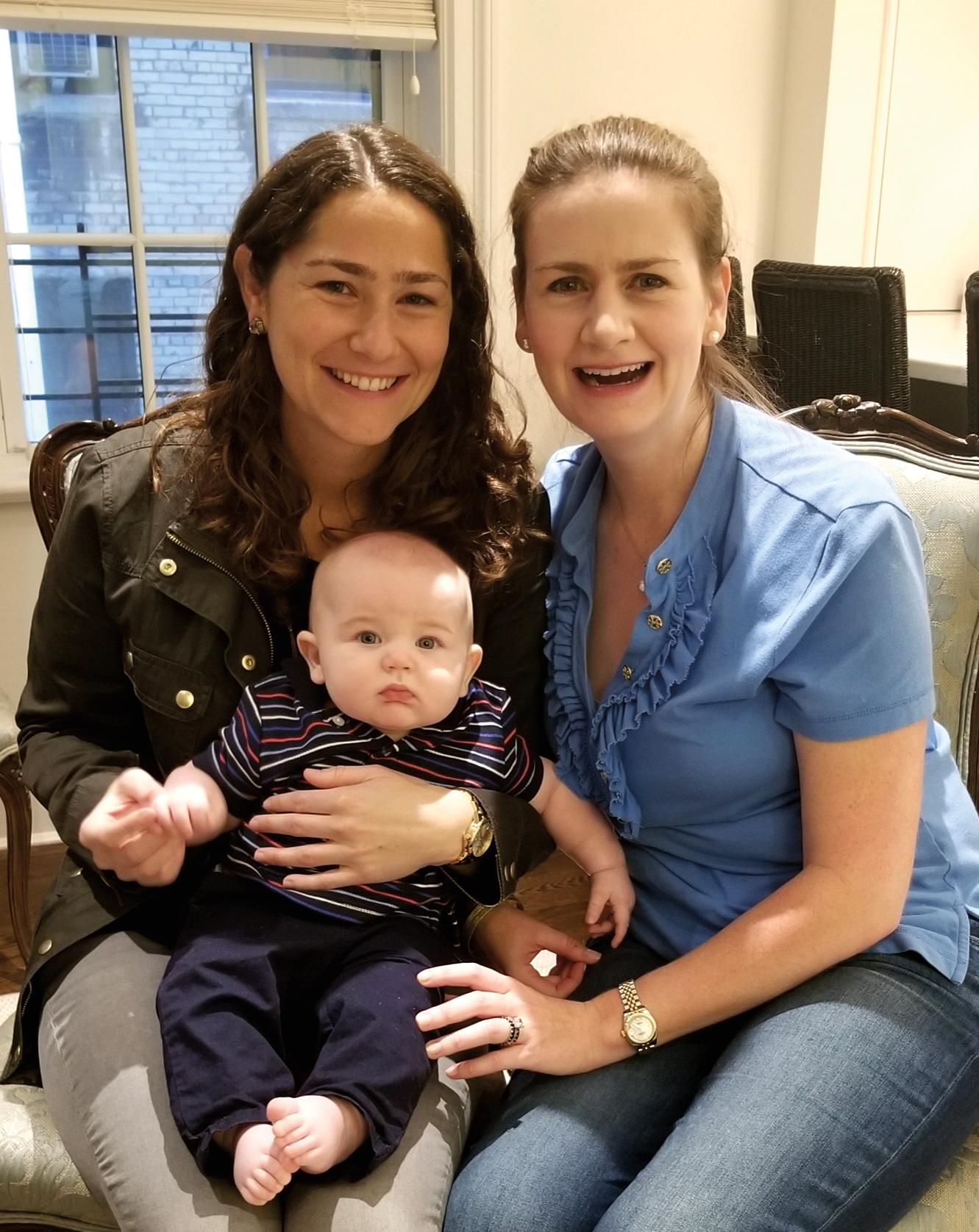 Meeghan Ford '03 (l.) with friend Lauren McKenna Surzyn '03 and Lauren's son, William.