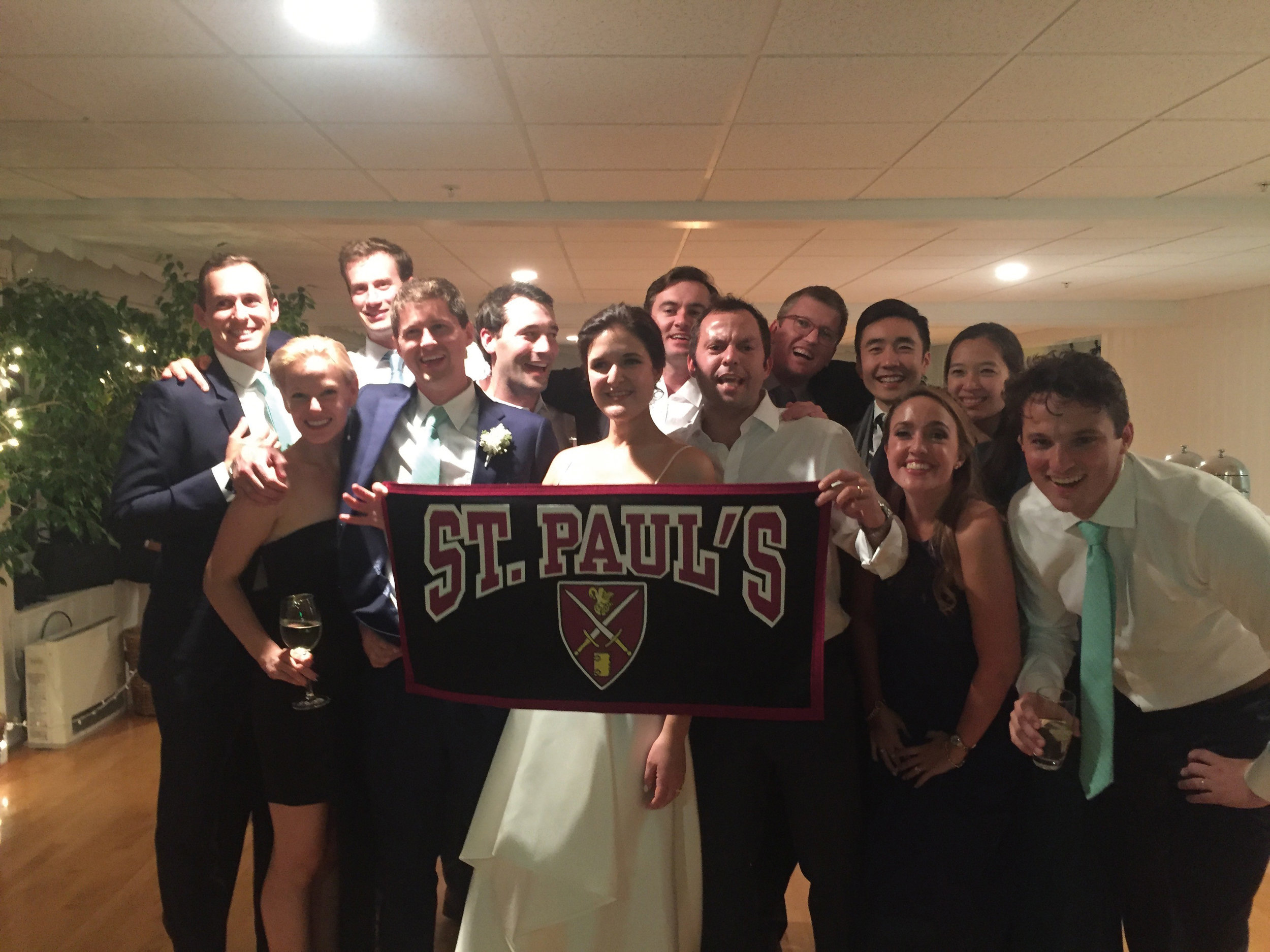 Christopher Hornor Hickey '05 and his bride, Beth Vogelsang Treseder, celebrated with Bowman Dickson '05, Nathaniel Green (former ASP faculty), Sam Malmberg '05 and his girlfriend, Charlie Perkins '05, Sam Moorehead '05, Oliver Embry '05, Ken Wong '05 and his wife, and Charlotte Hickey '07 and her husband, Jérôme Vigne.