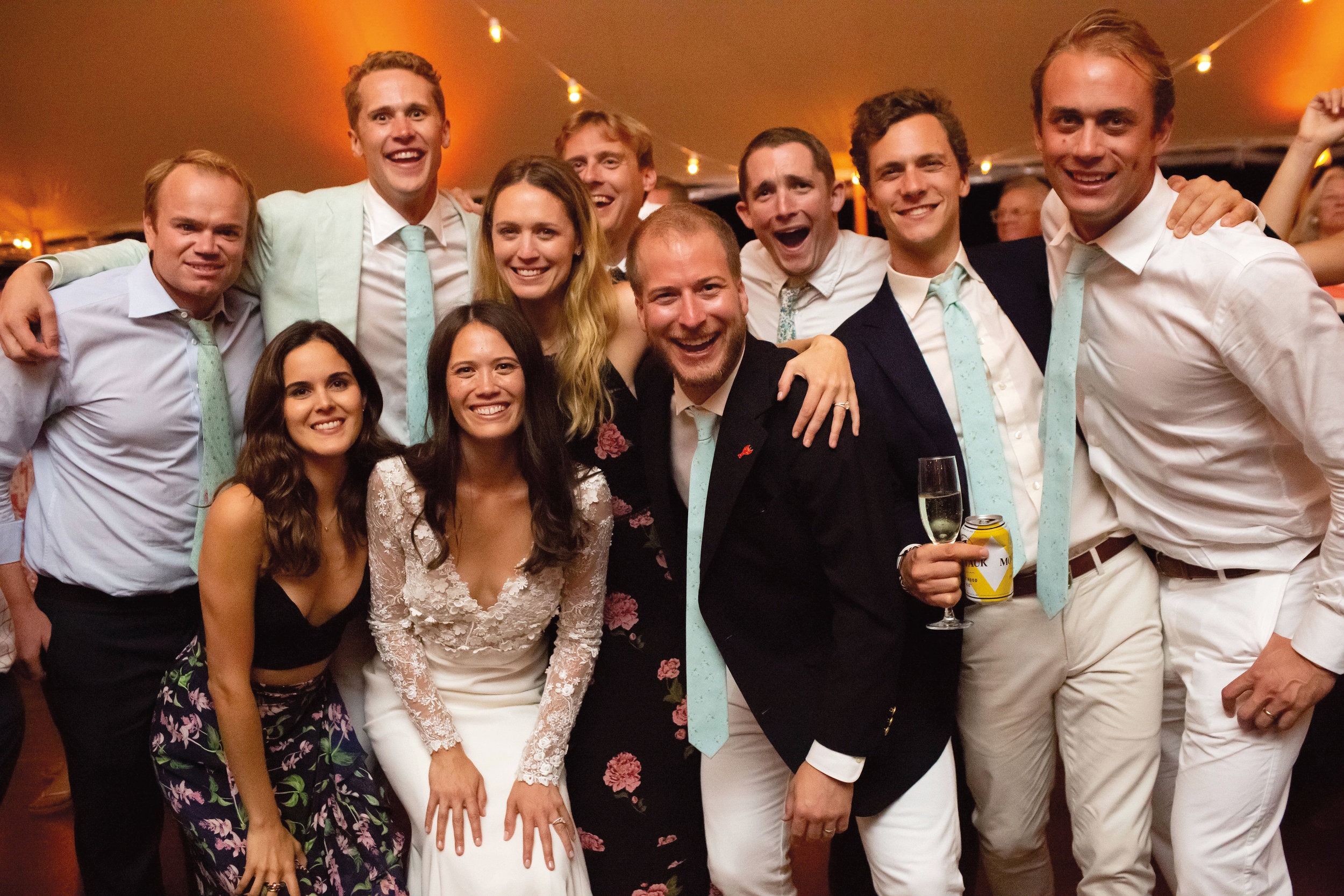 Paulies at the wedding of Clayton Sachs '06 and Lily Nguyen in Amagansett, N.Y. (l. to r.) back: Arthur Zeckendorf '05, the groom, Daphne Grayson '06, Patrick Johnson '06, Alex Pearce '06, Spencer Salovaara '06, and Jay Clapp '06; front: Giovanna Campagna '06, the bride, and Hank Garrett '06 (not pictured: Lawrence Cheuk '06).